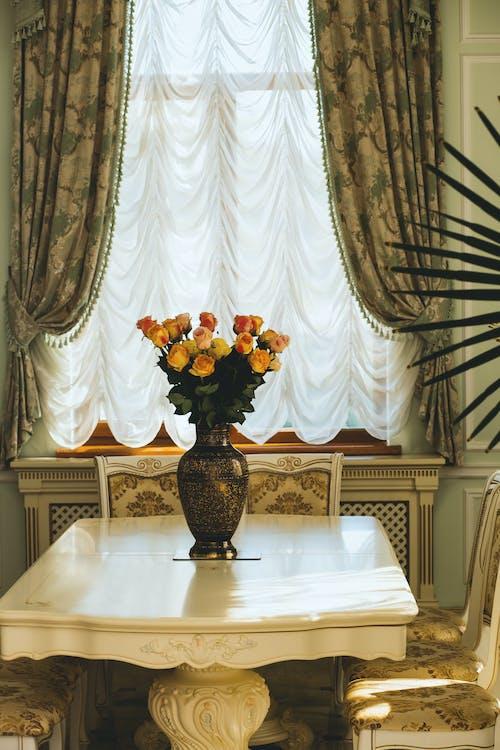 bàn ăn tối, hoa, phòng