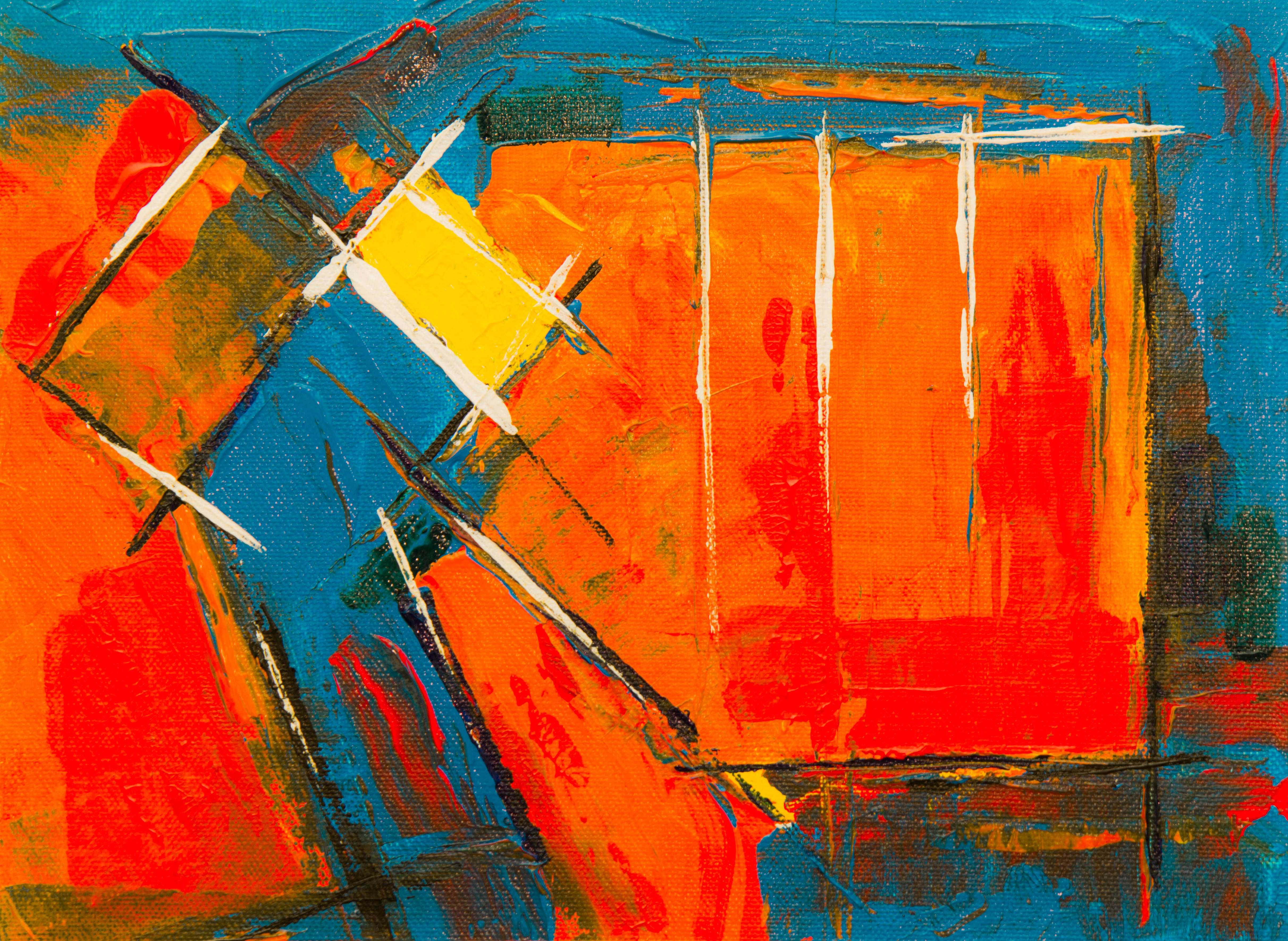 Orange, Yellow, And Blue Abstract Painting