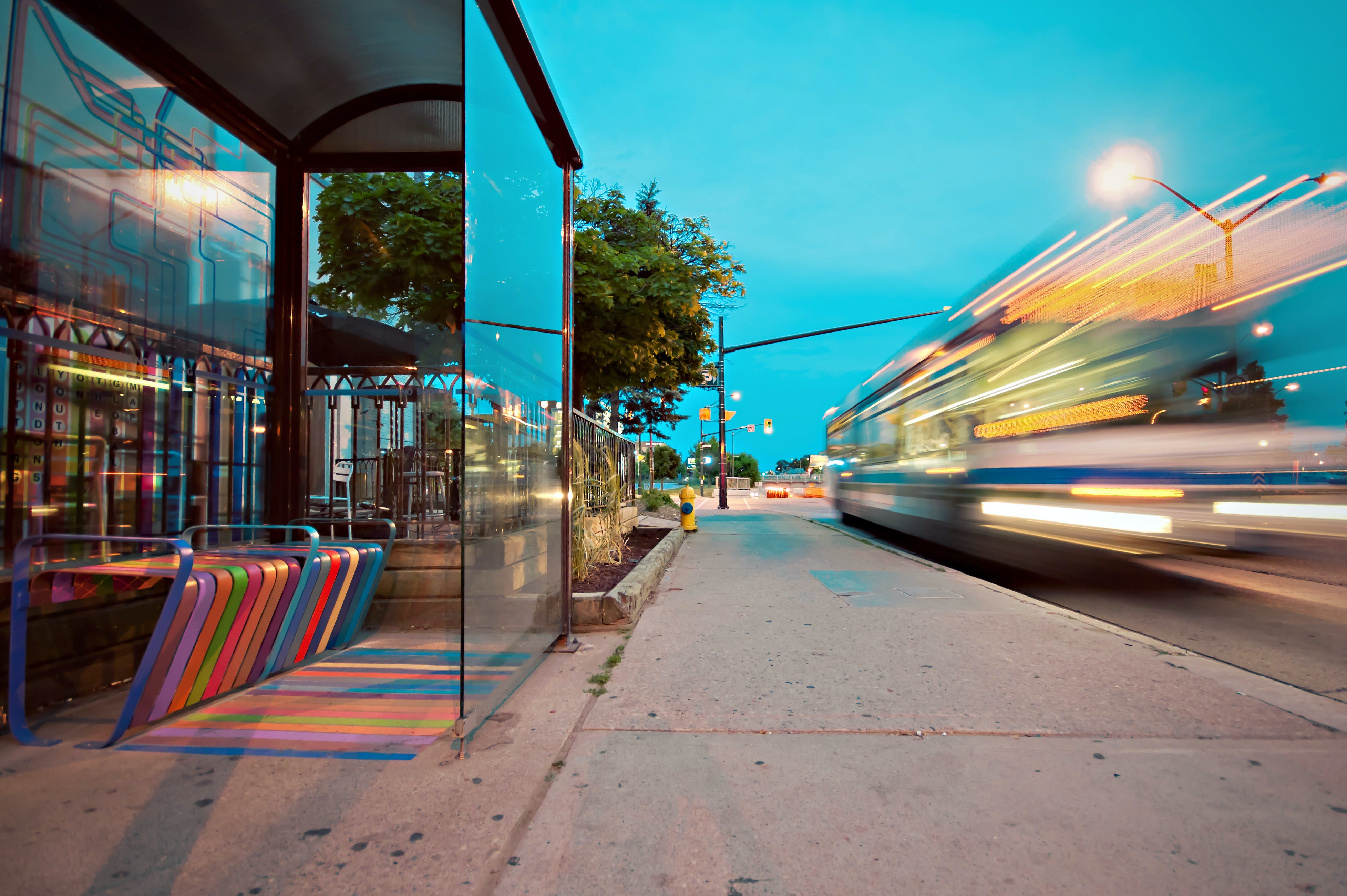 Timelapse Photo of Bus Stop