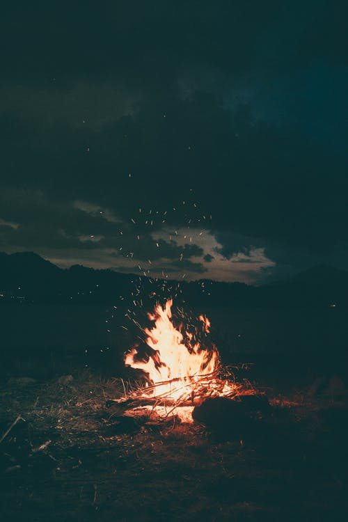 brûler, camper, feu