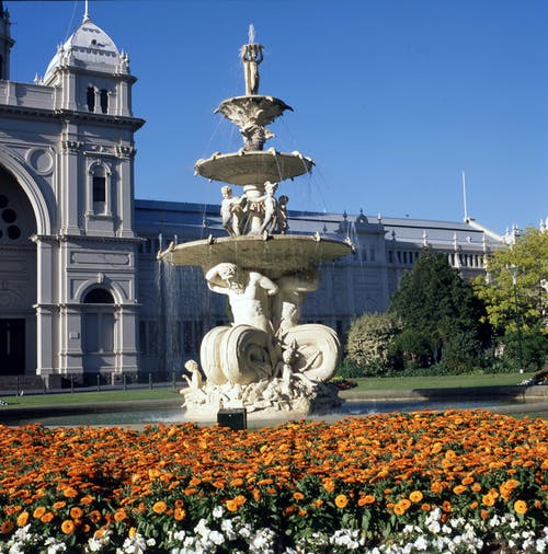 Free stock photo of architectural design, flower garden, Water fountain