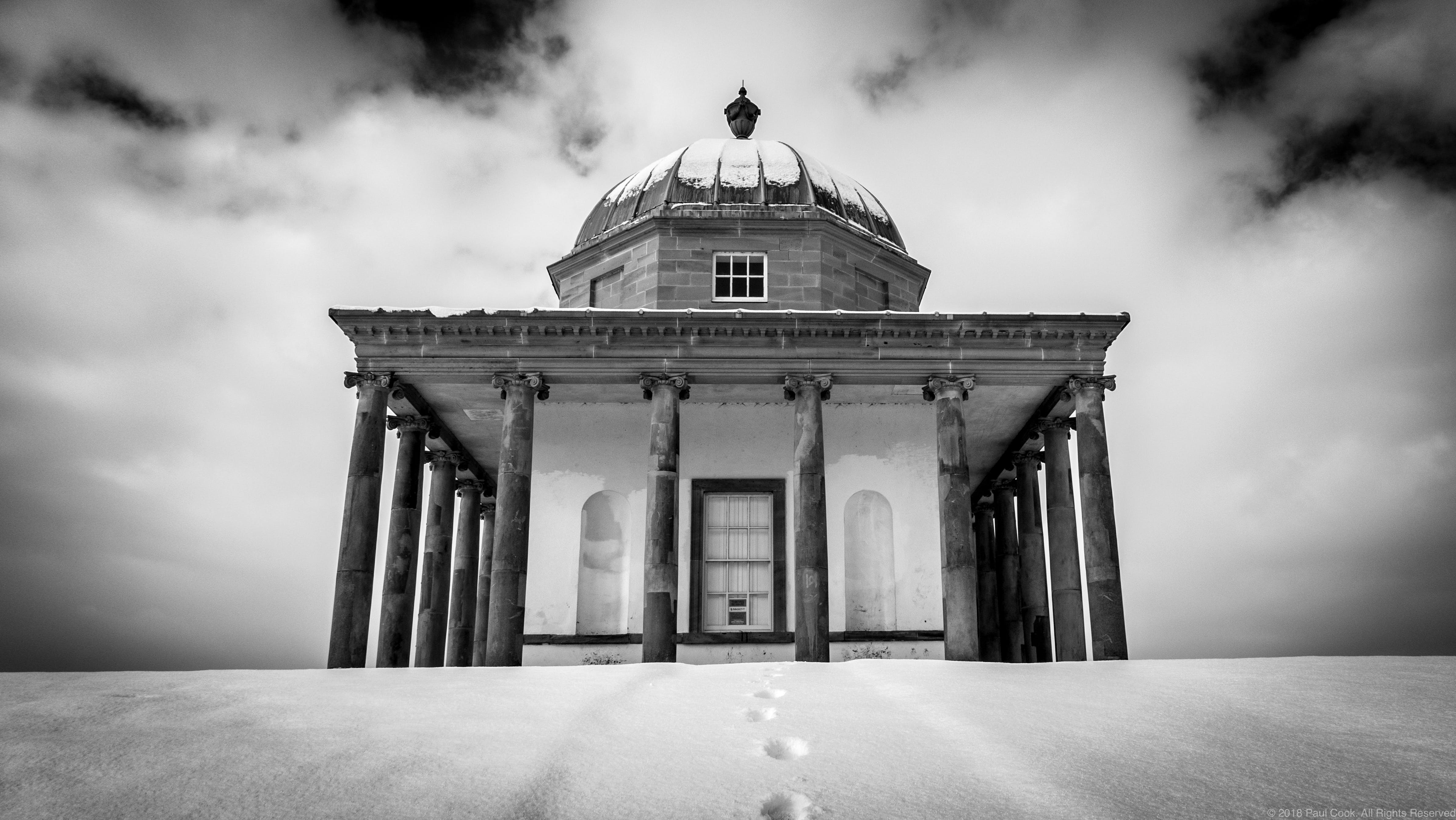 Free stock photo of folly, footprints in the snow, monochrome, snow