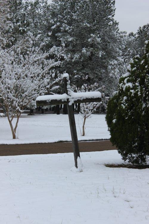 Free stock photo of cross, snow