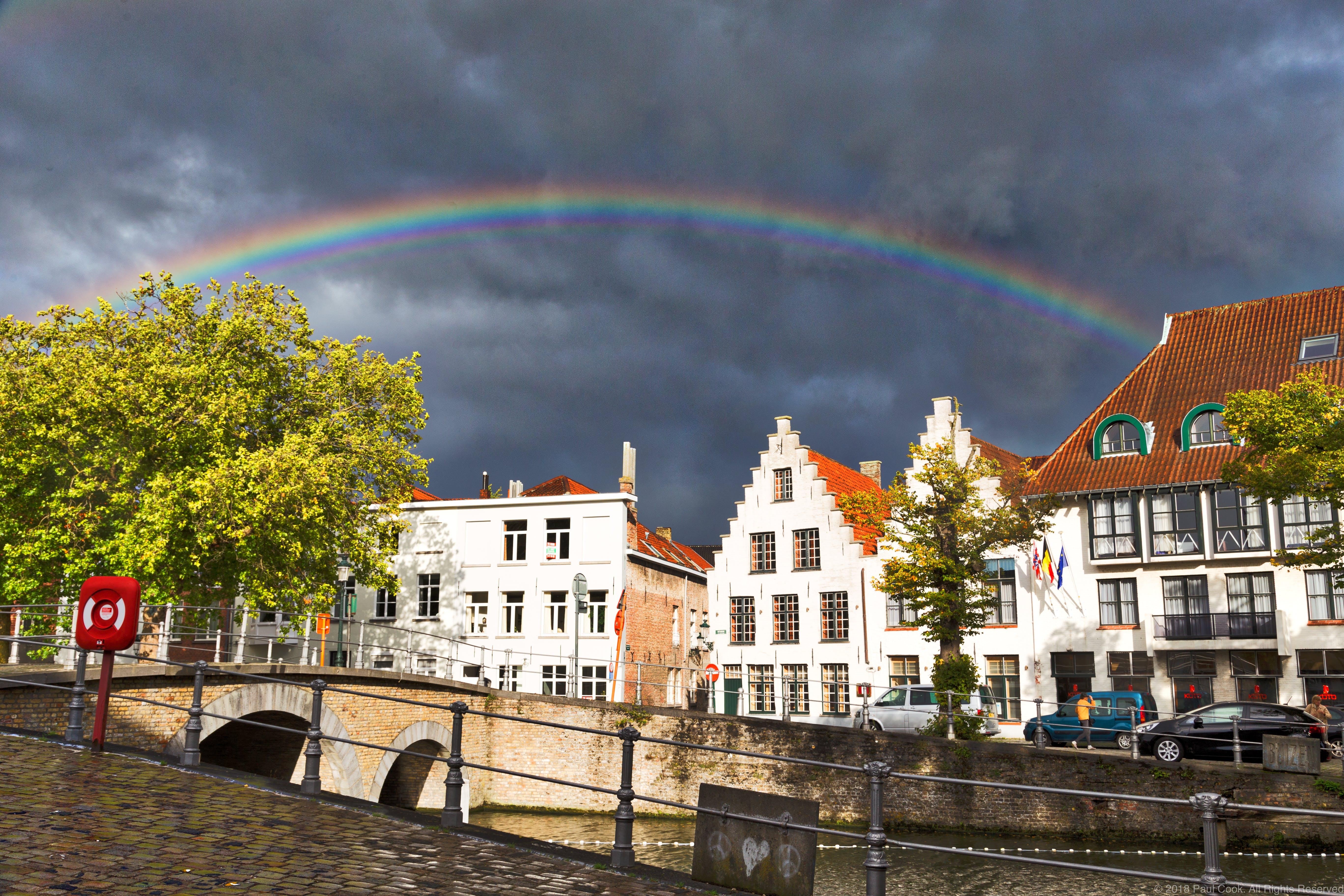 Free stock photo of Belgium, over bruges, rainbow