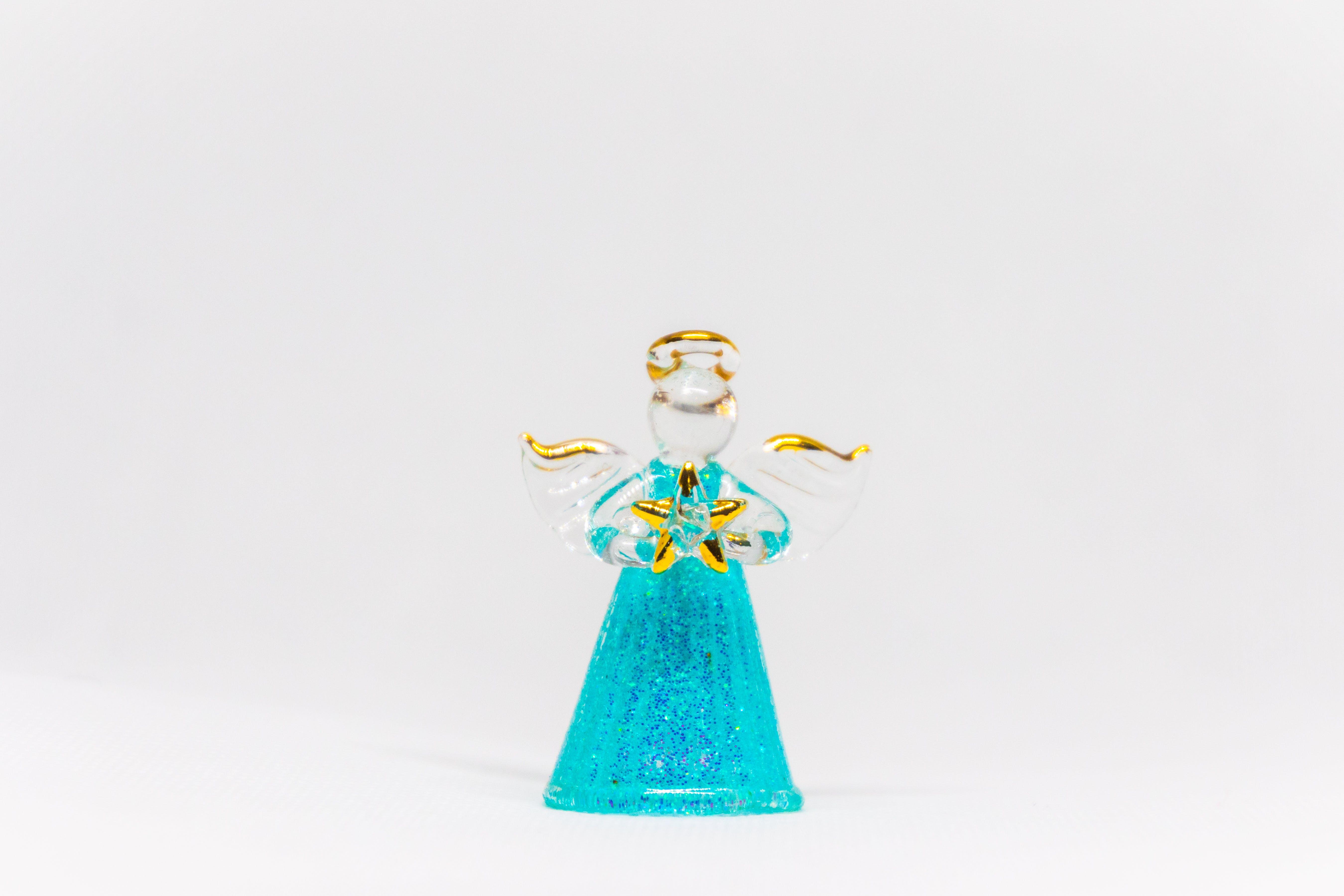 Teal Glass Angel Figurine