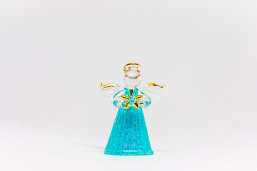 Teal Glass Angel Figurine