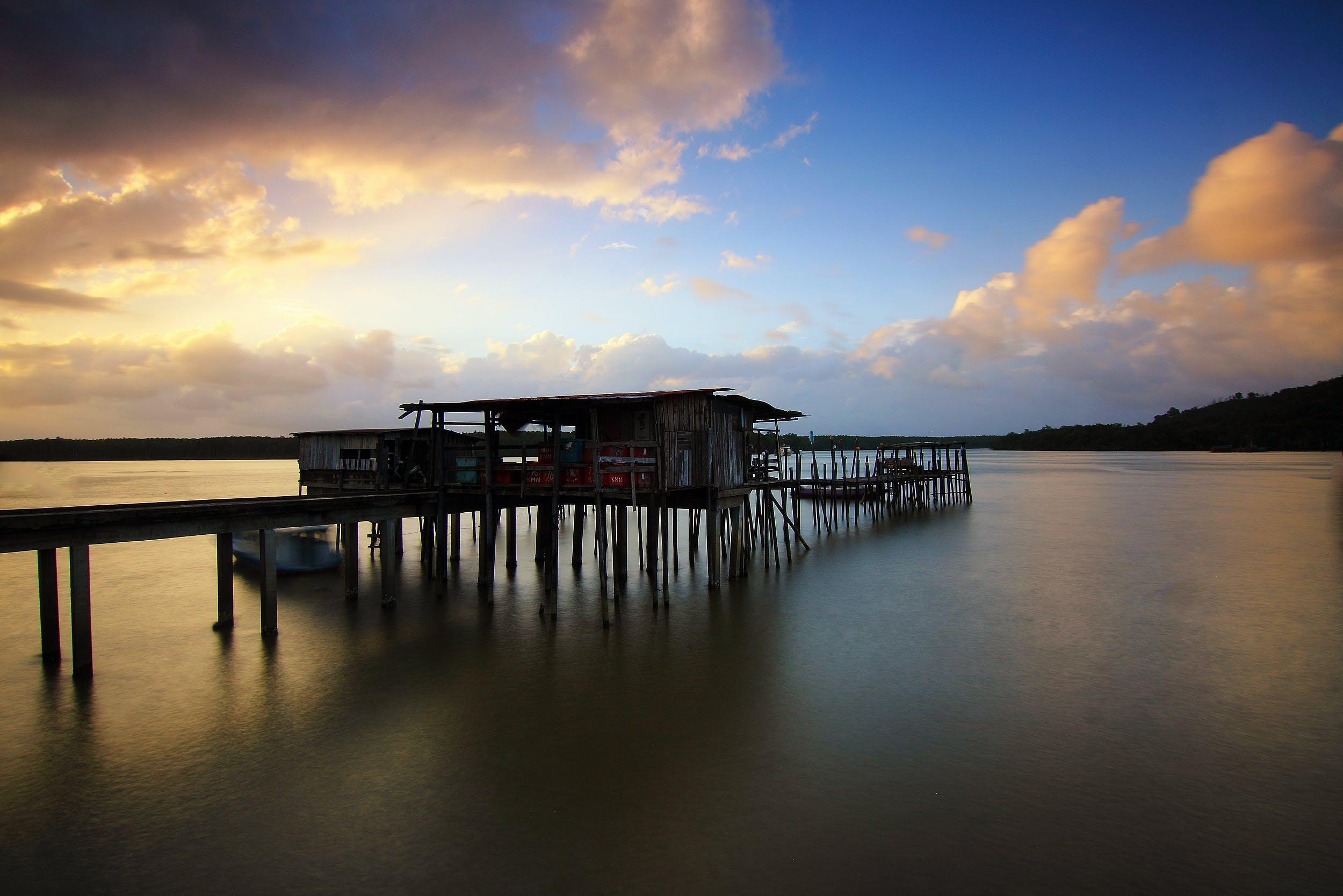 ビーチ, ブリッジ, ボート, 夕方の無料の写真素材