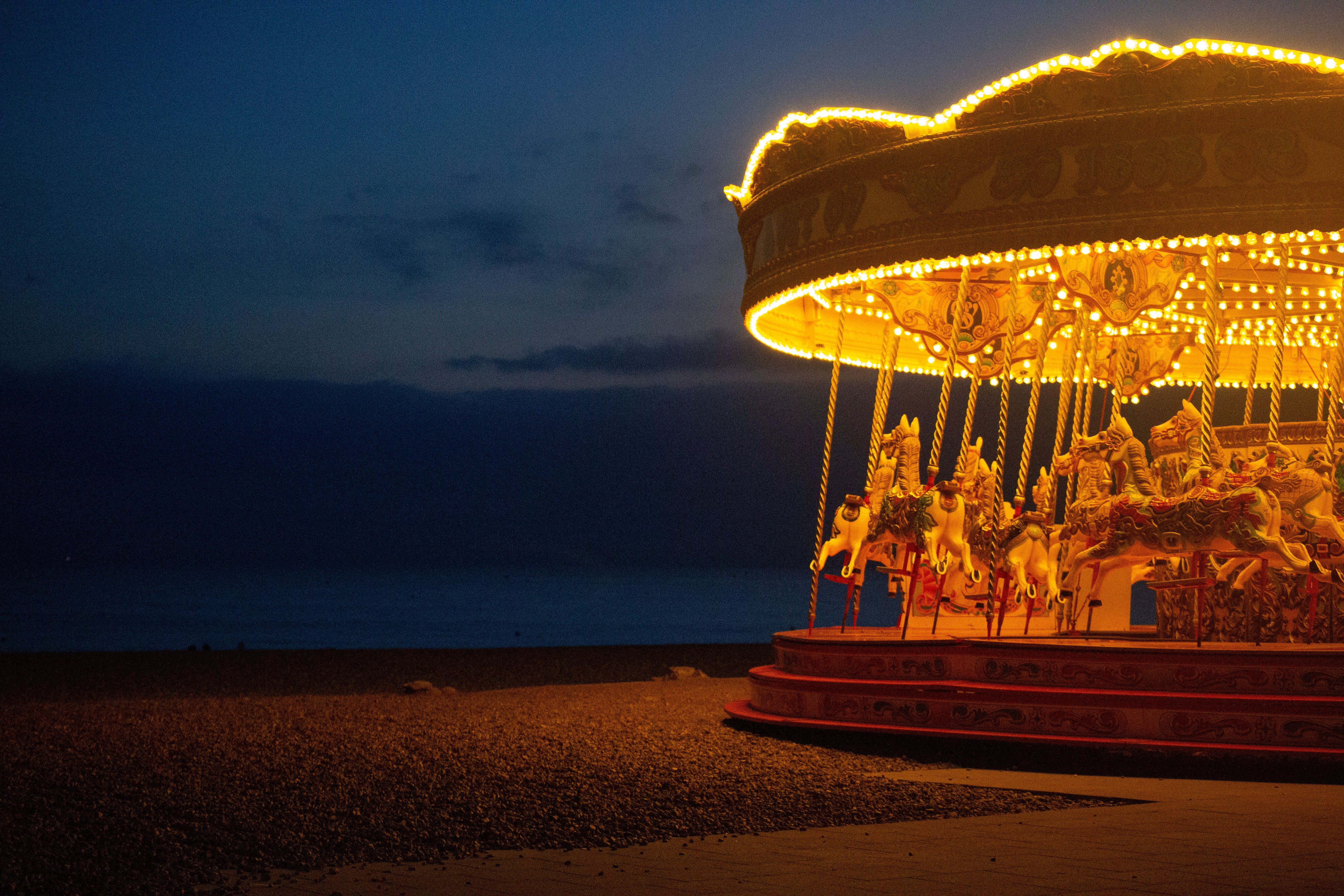 Free stock photo of a carousel with horses on Brighton