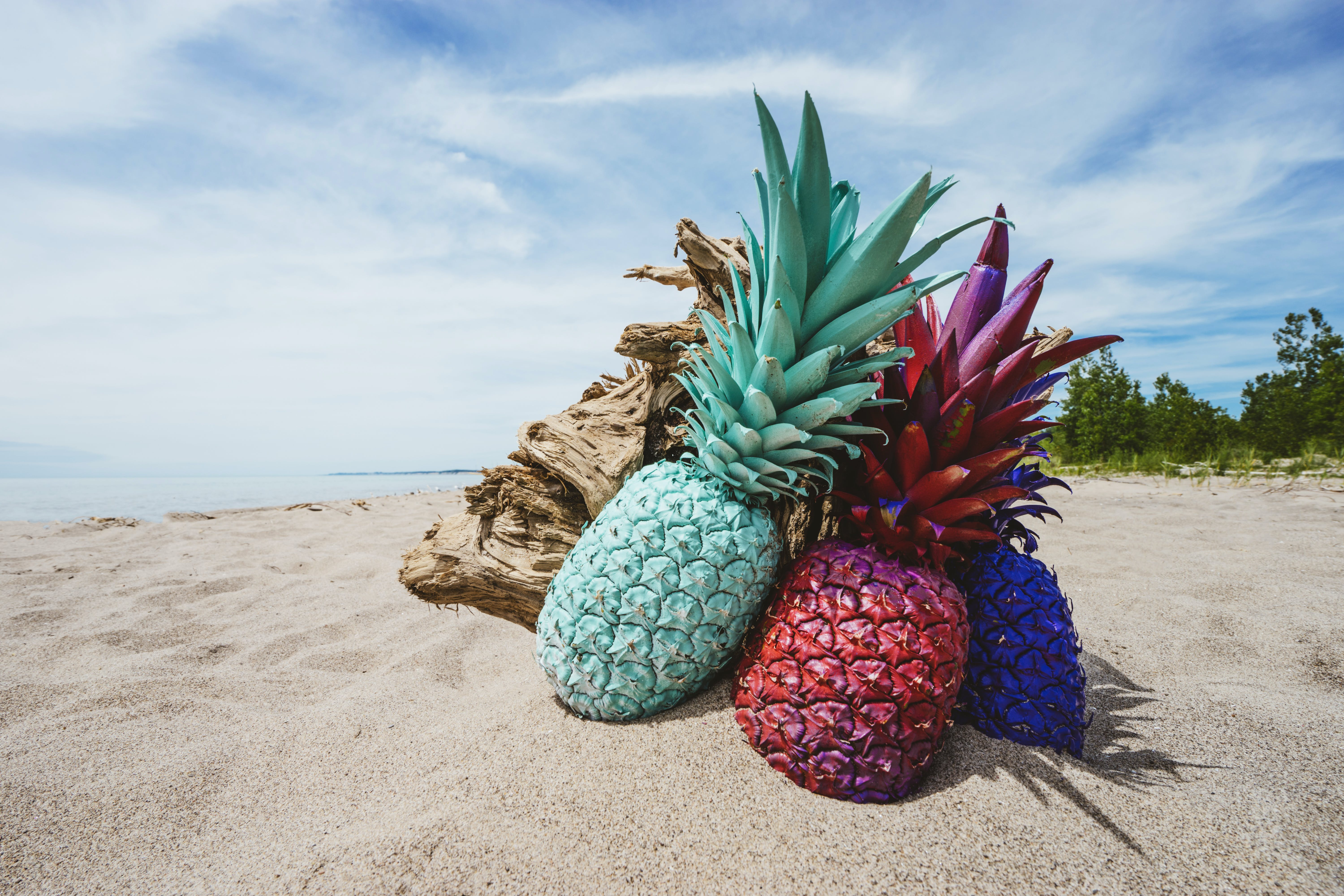 Three Assorted-color Pineapples on Sand