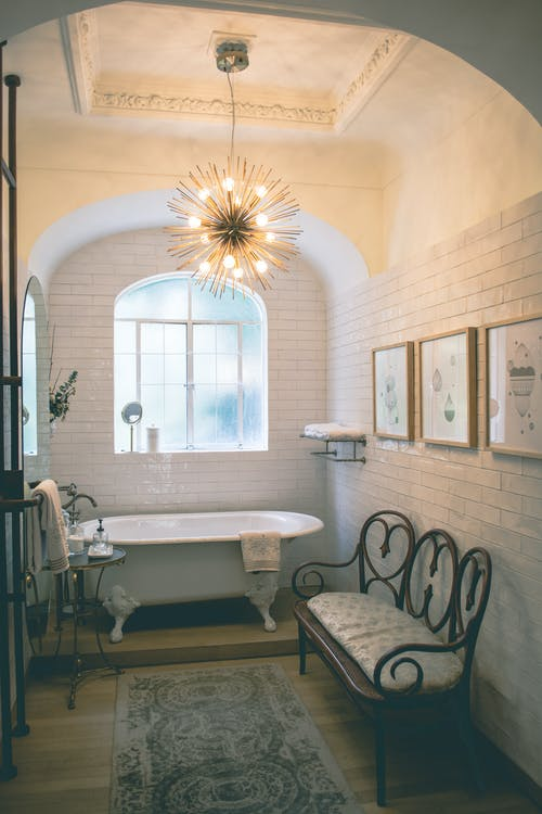 Bathroom Room With Pendant Lamp And Area Rug