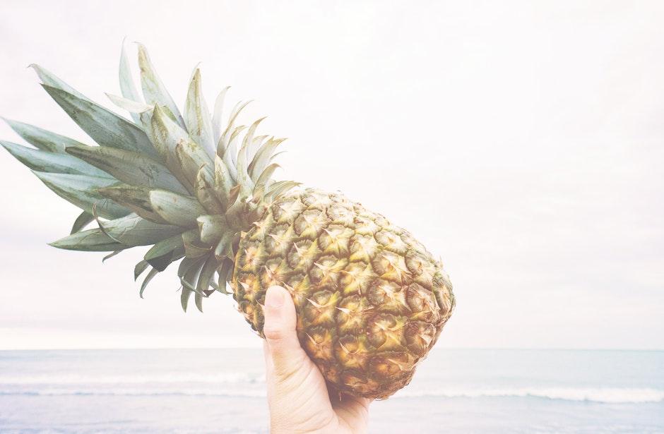 beach, fruit, hand