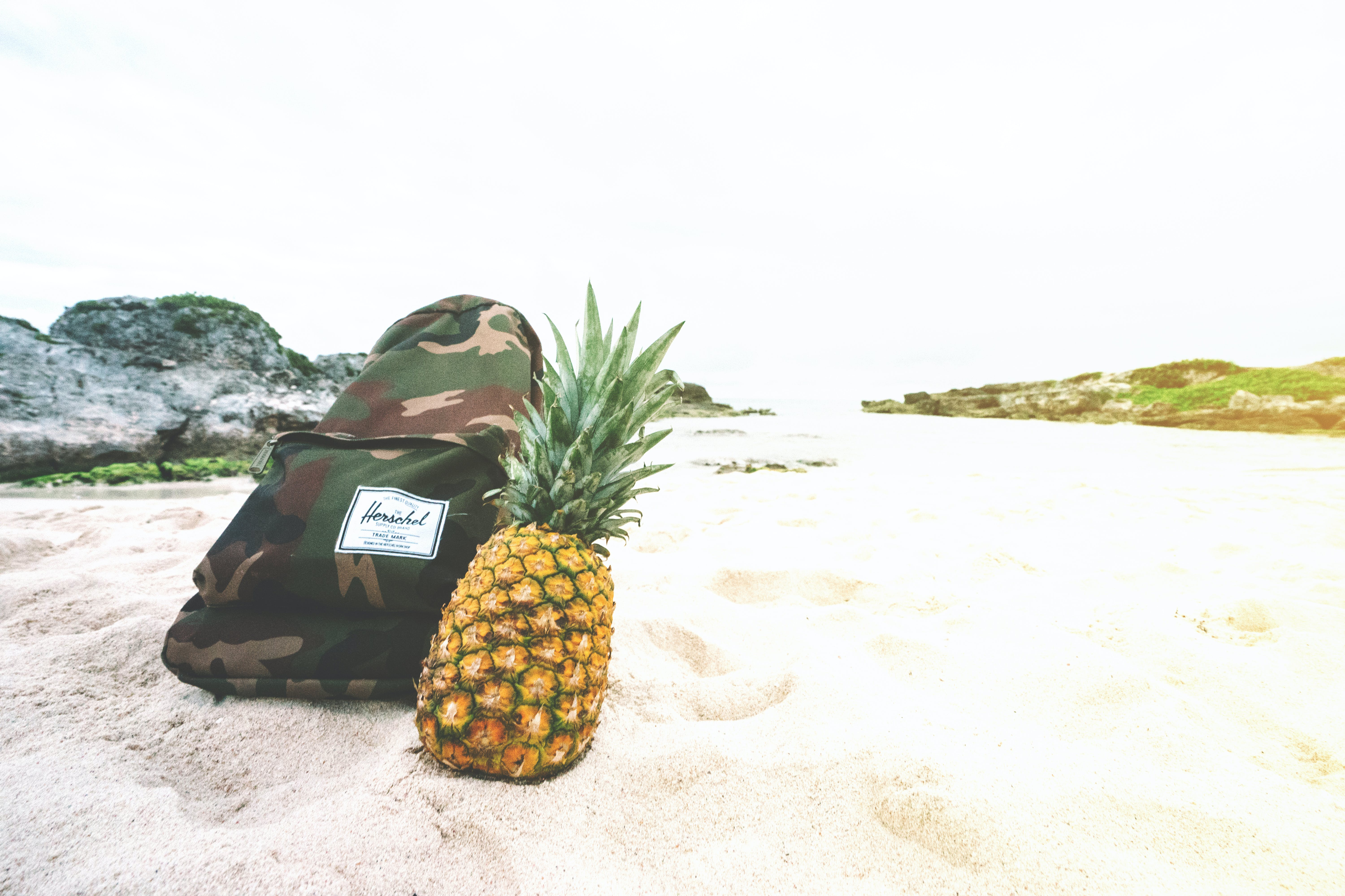 Pineapple Fruit Beside Backpack on White Sand