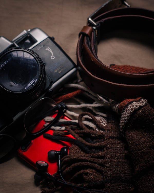 aparelhos, câmera, castanho