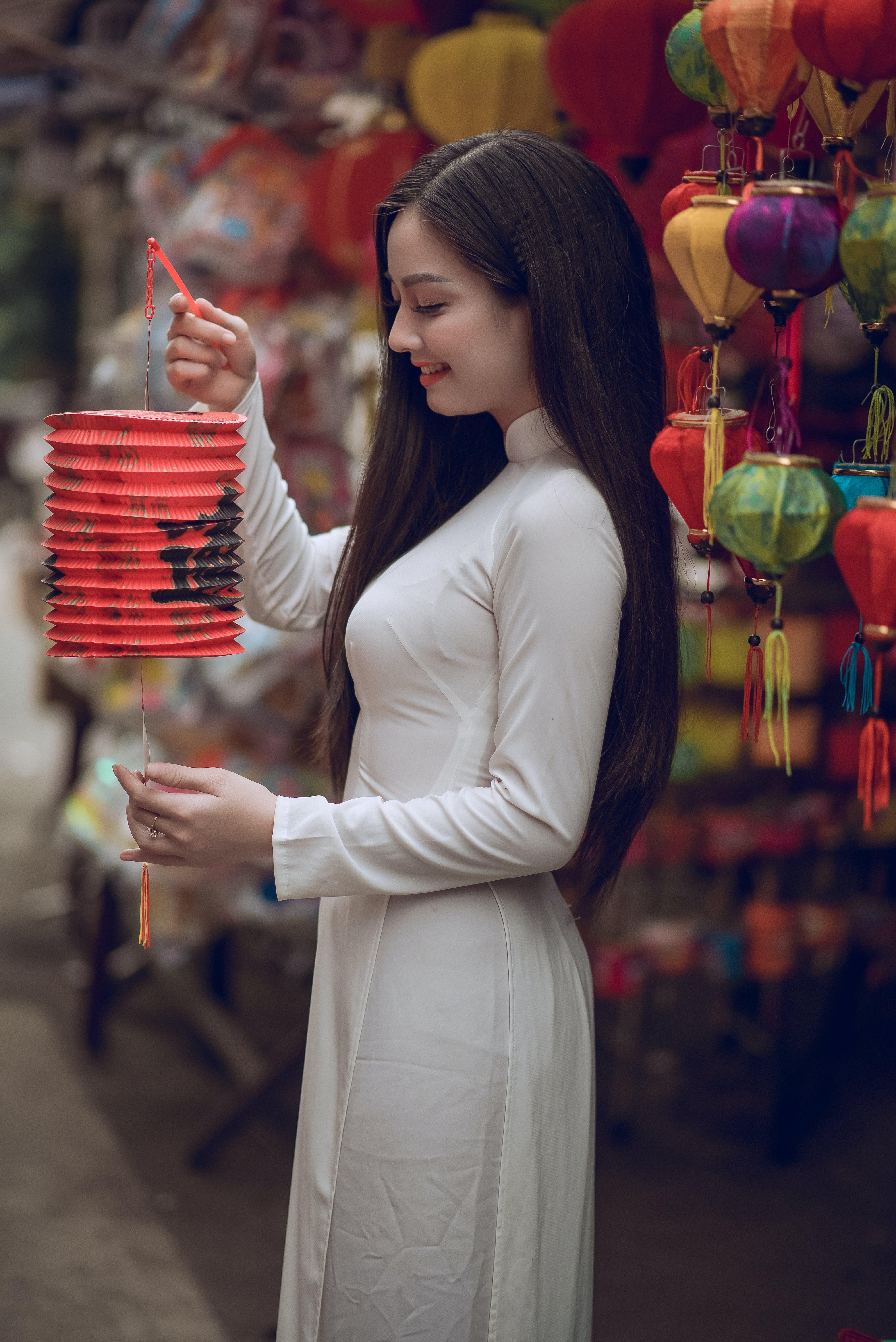 Woman Holding Red Chinese Lantern