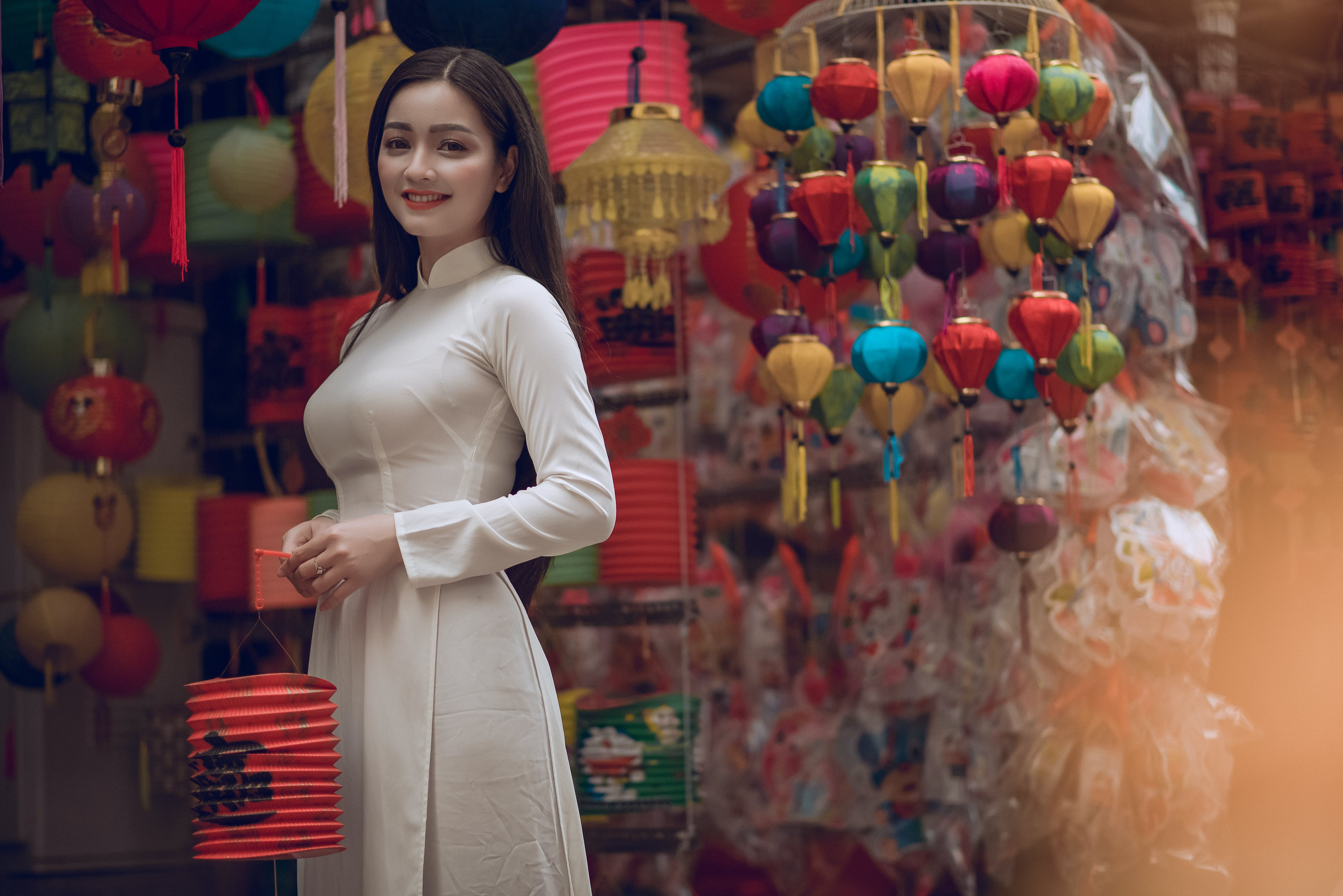 Woman Holding Chinese Lantern
