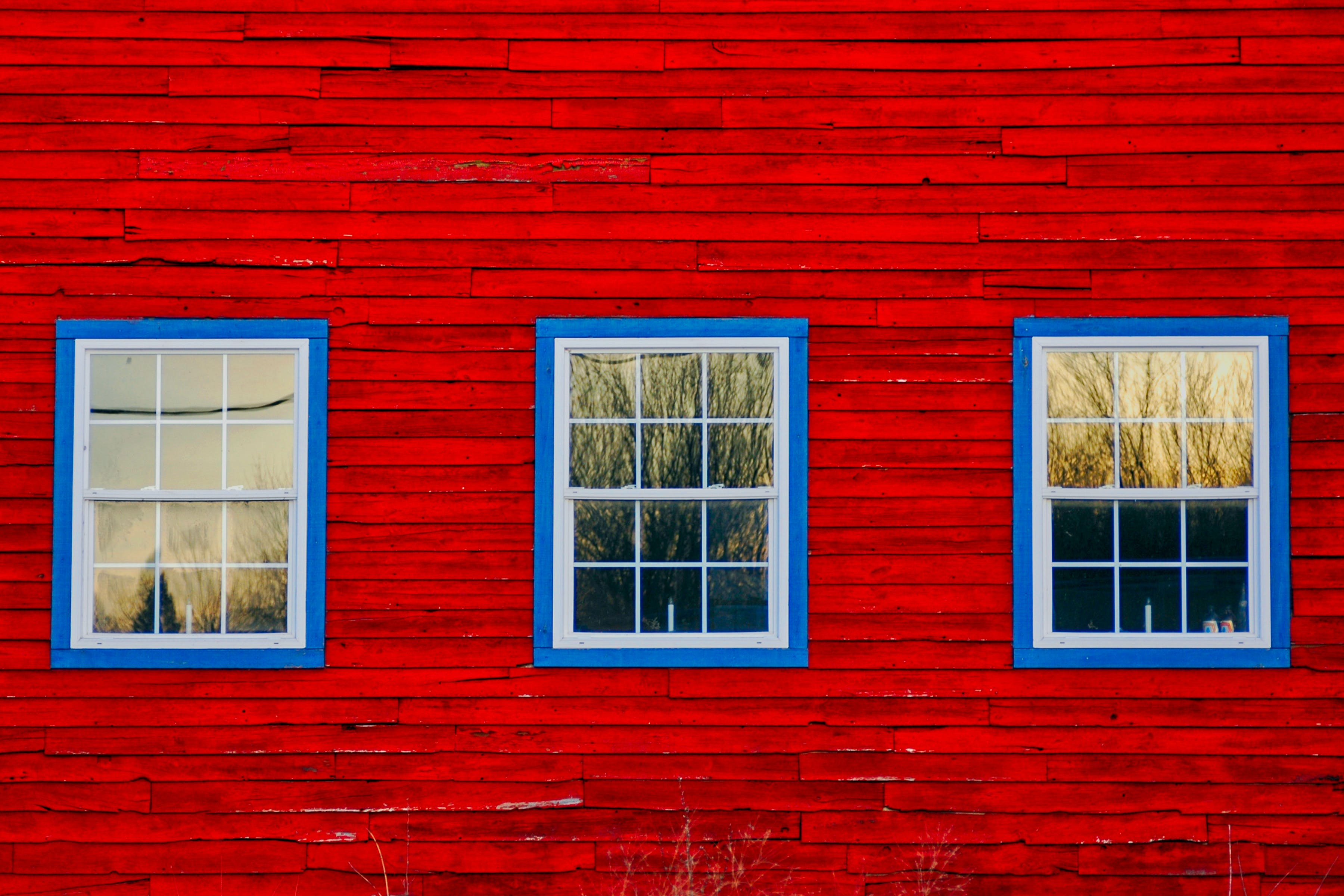 Free stock photo of barn, blue, boards, glass