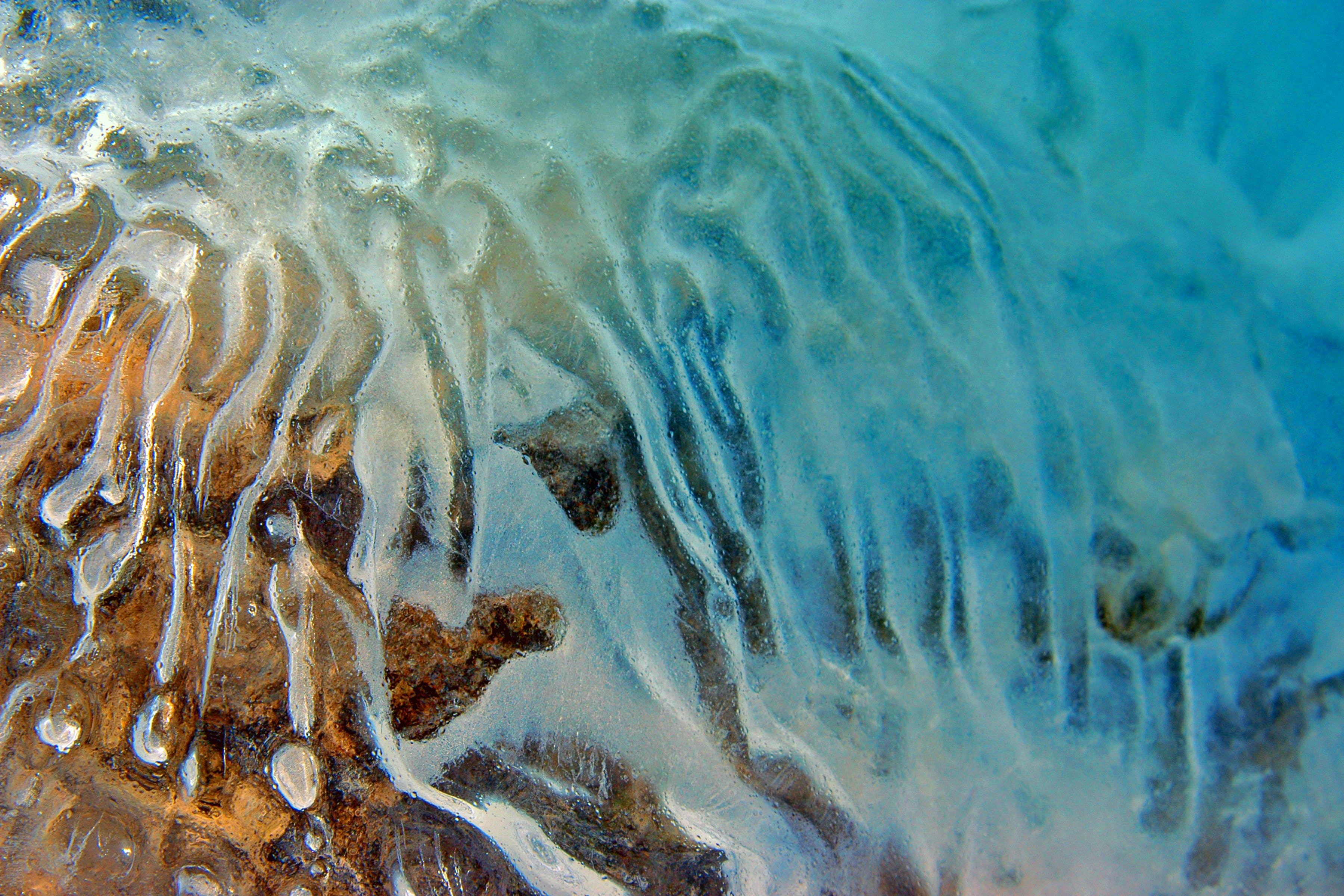 Free stock photo of blue, frozen, ice, ripples