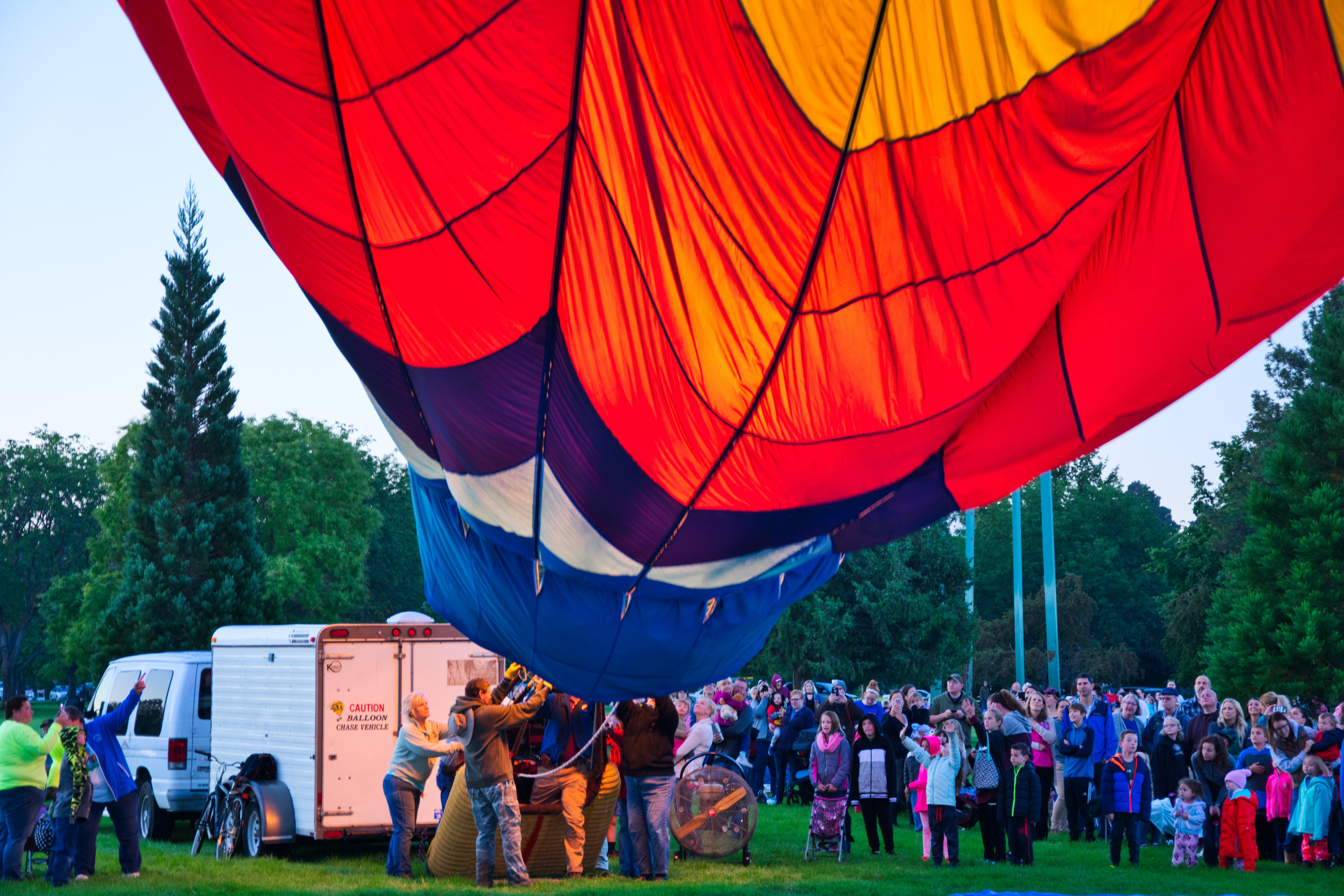 People Positioning Hot Air Balloon