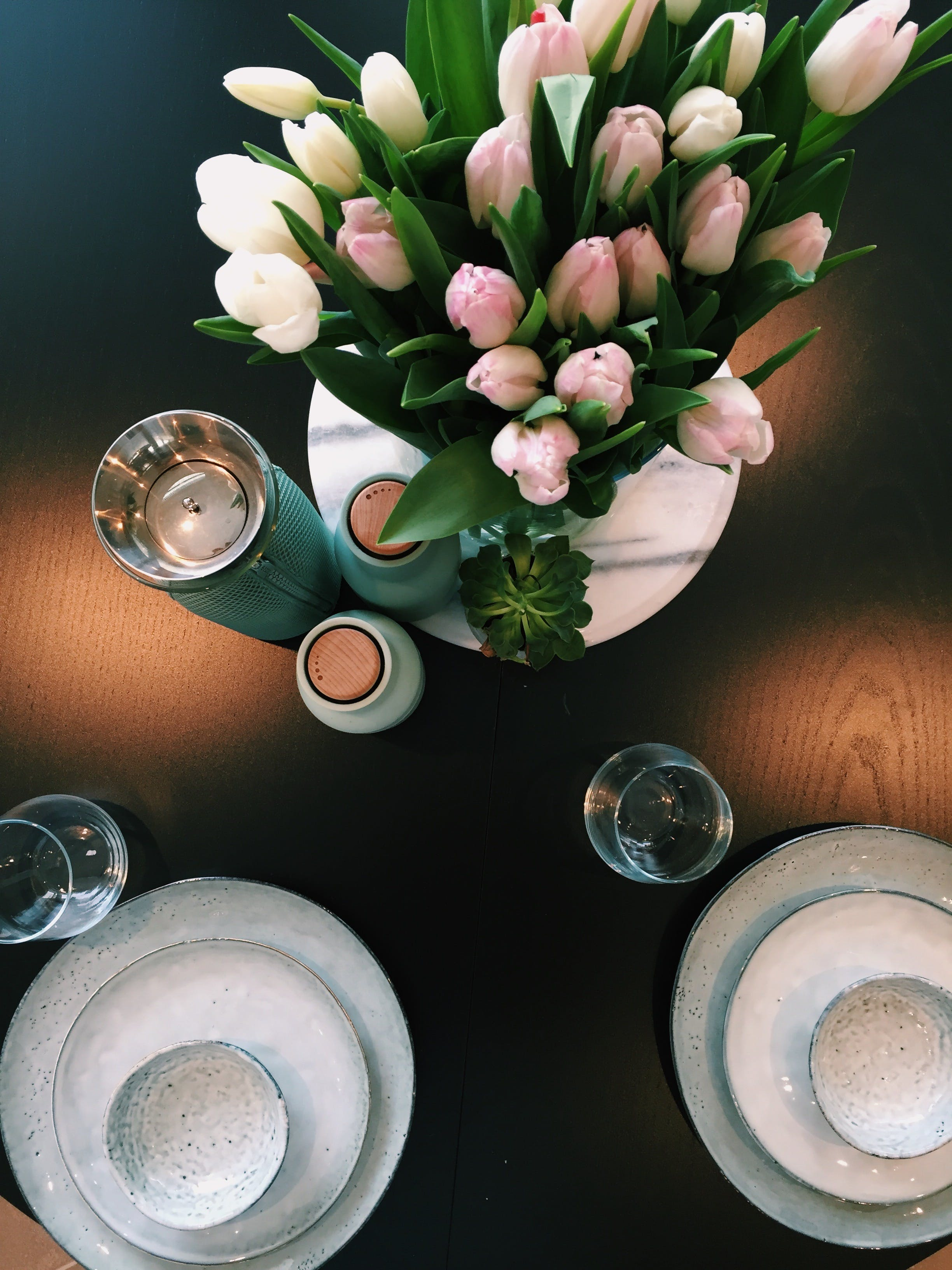 Pink and White Tulips Centerpiece on Table