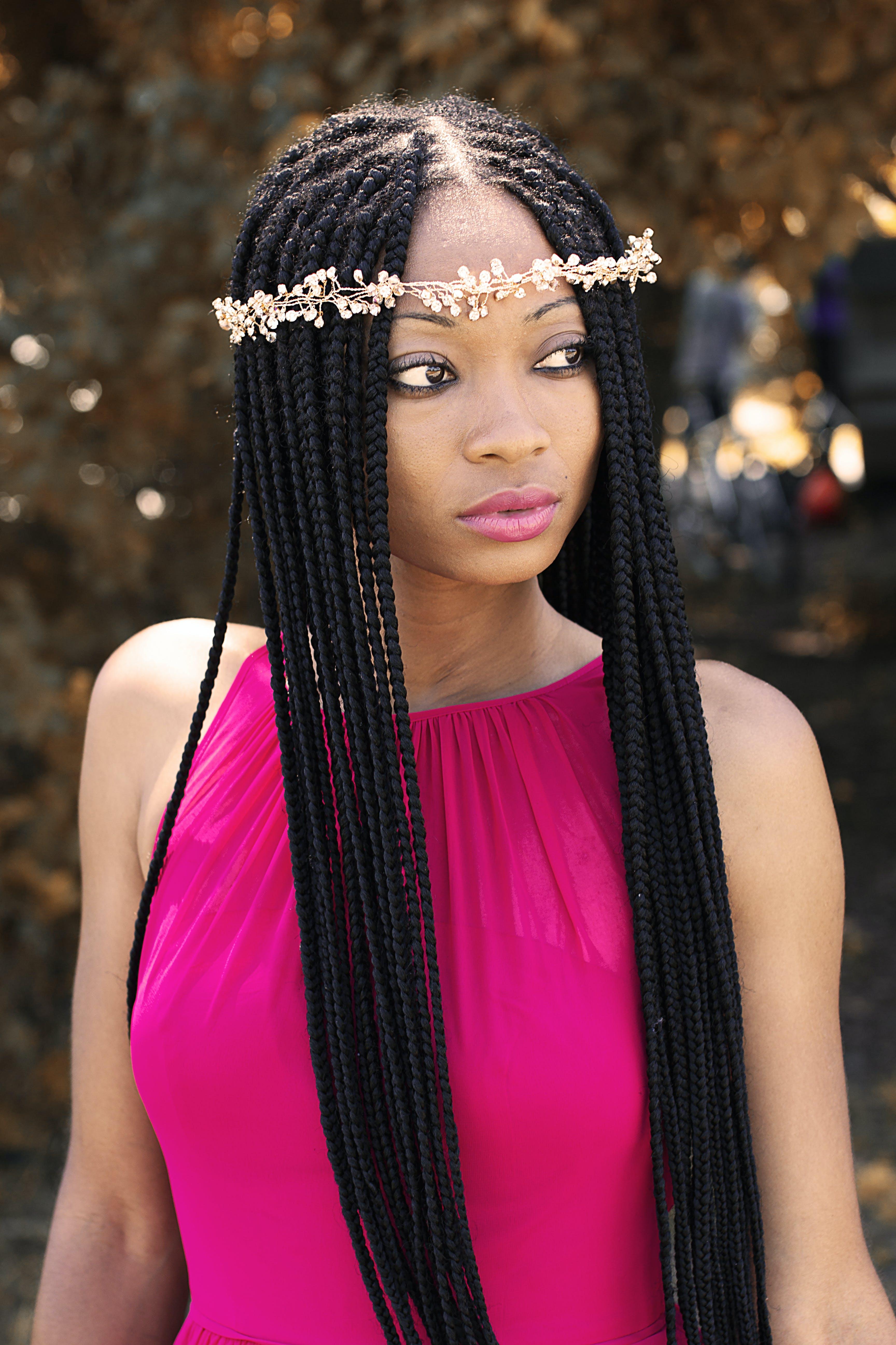 afroamerikansk kvinde, attraktiv, frisure