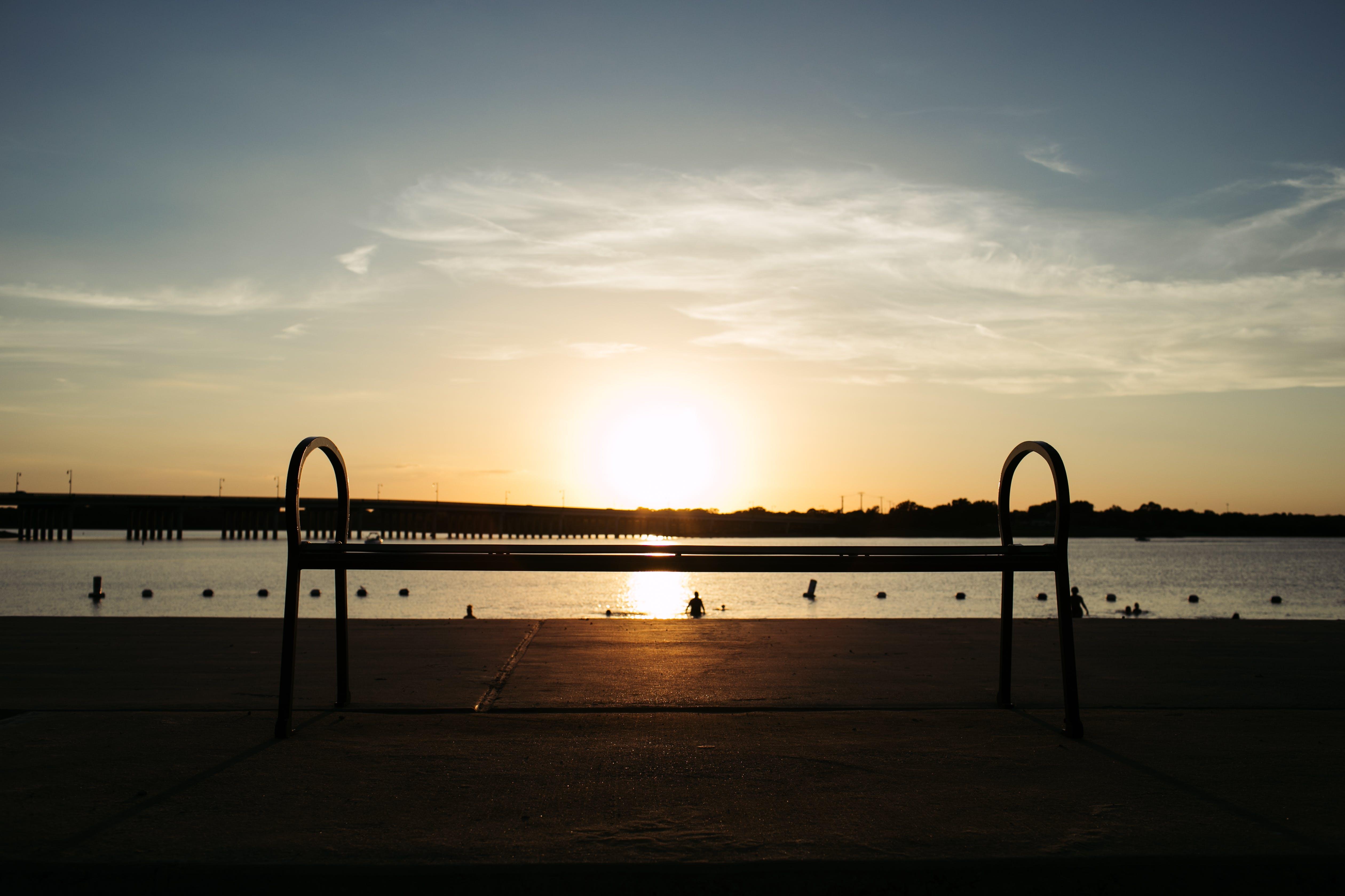 Free stock photo of bench, lake, sunset
