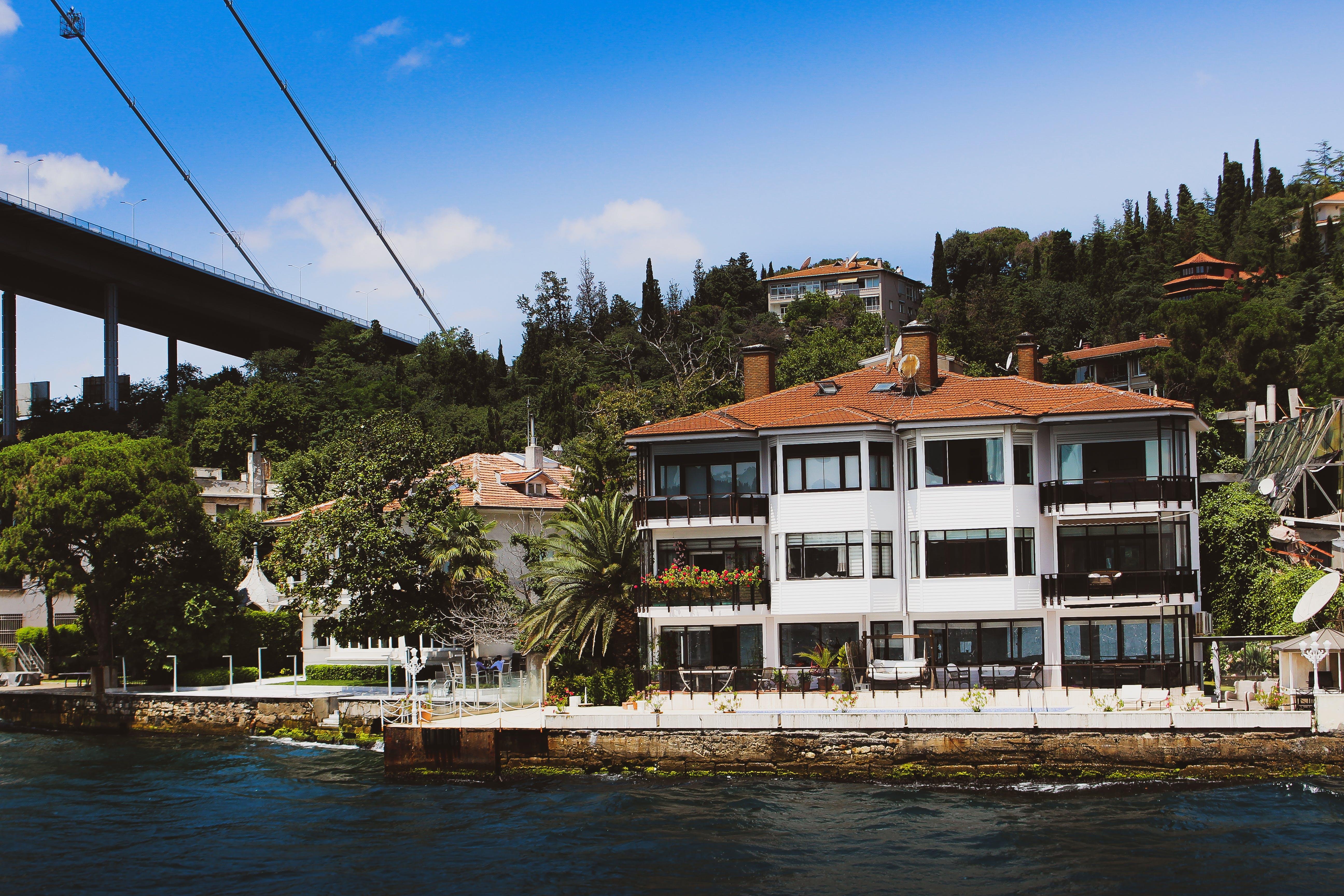 White Concrete House Near Sea Behind Trees