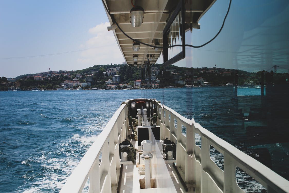 båd, by, hav