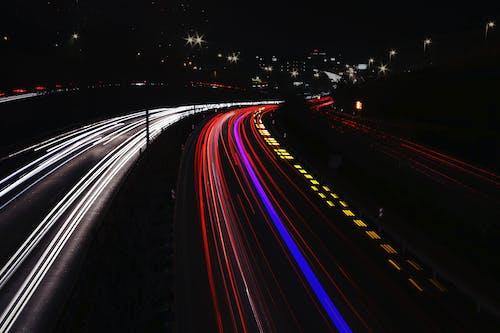 Бесплатное стоковое фото с вечер, длинная экспозиция, дорога, ночь