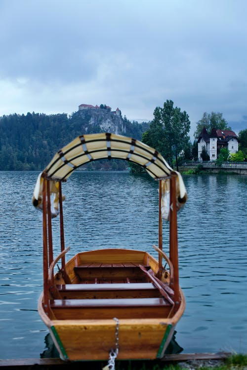 Free stock photo of alps, bled, boat, castle