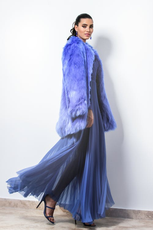 Woman Wearing Blue Fur Coat And Dress