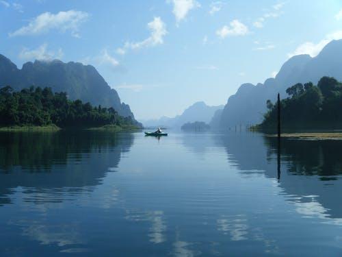 Man on Boat Under Blue Sky