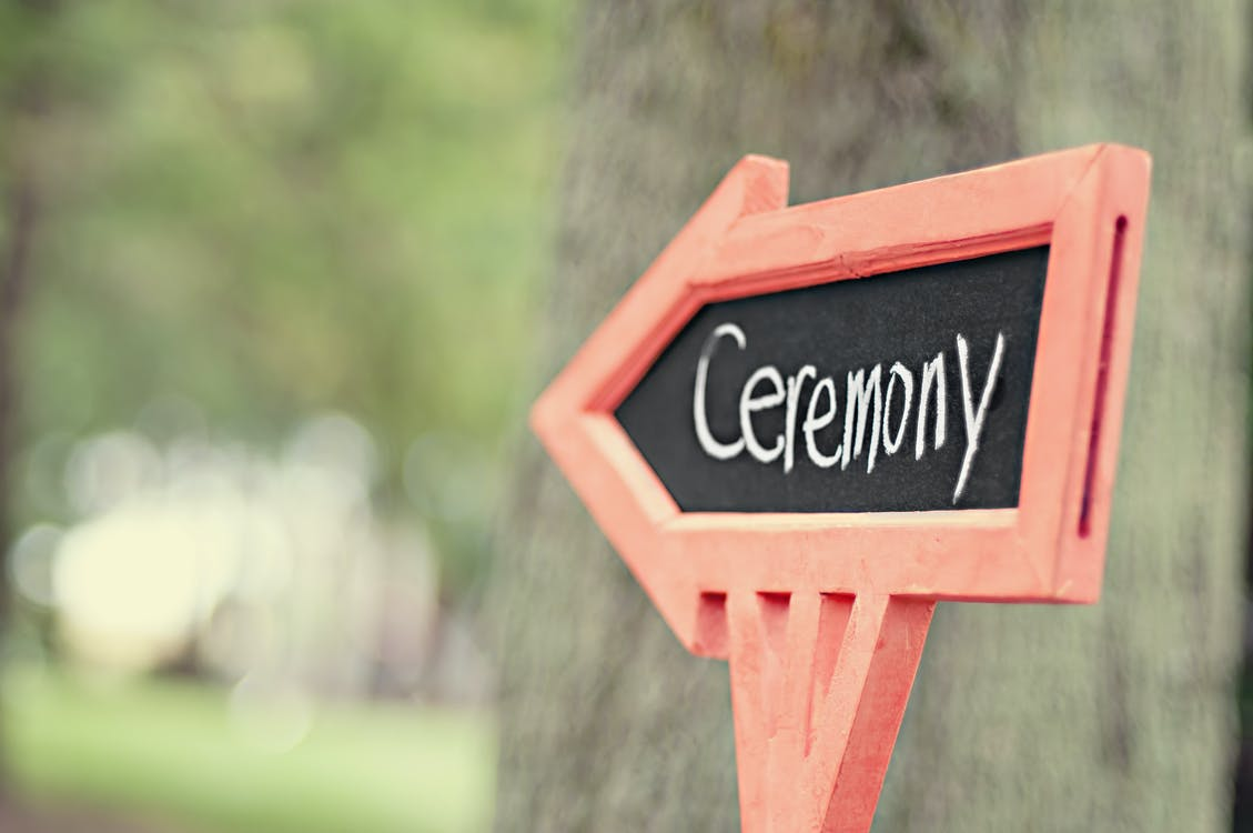 Ceremony Sign in Bokeh Photography