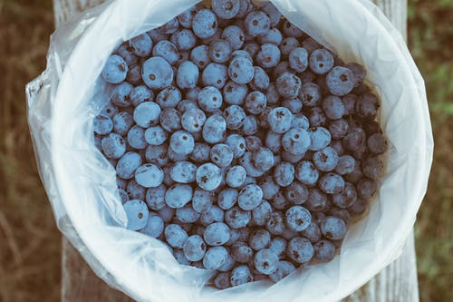 Blueberries in White Sack