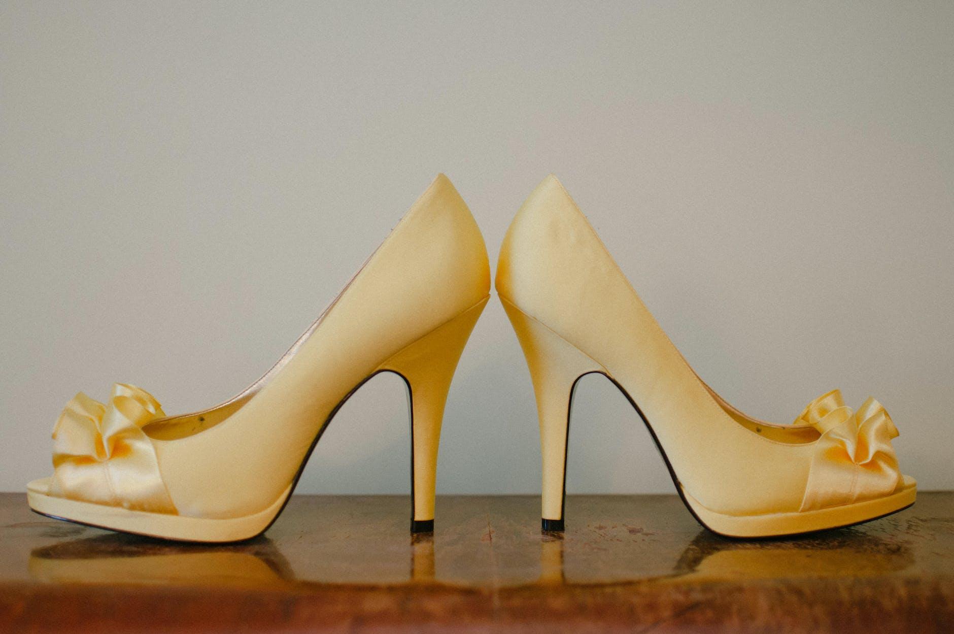 Color yellow high heels sandals