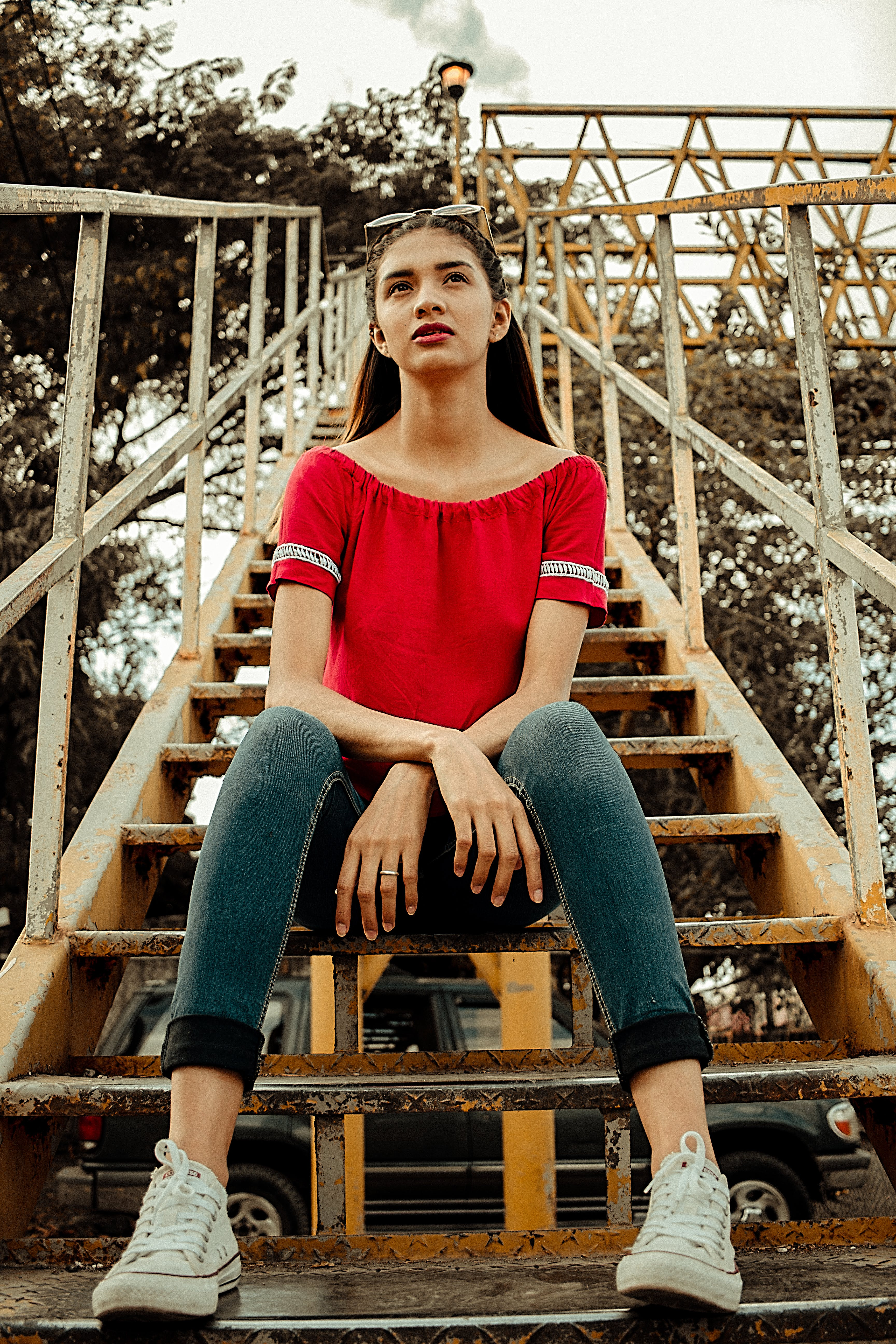 Woman Sitting on Stair