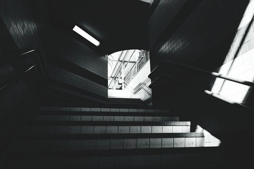 Free stock photo of black and white, stairs, station