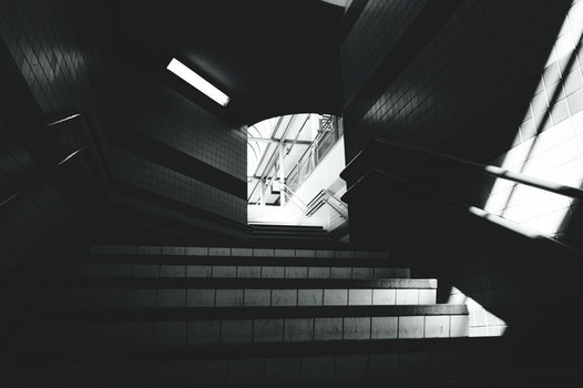Free stock photo of stairs, black-and-white, station