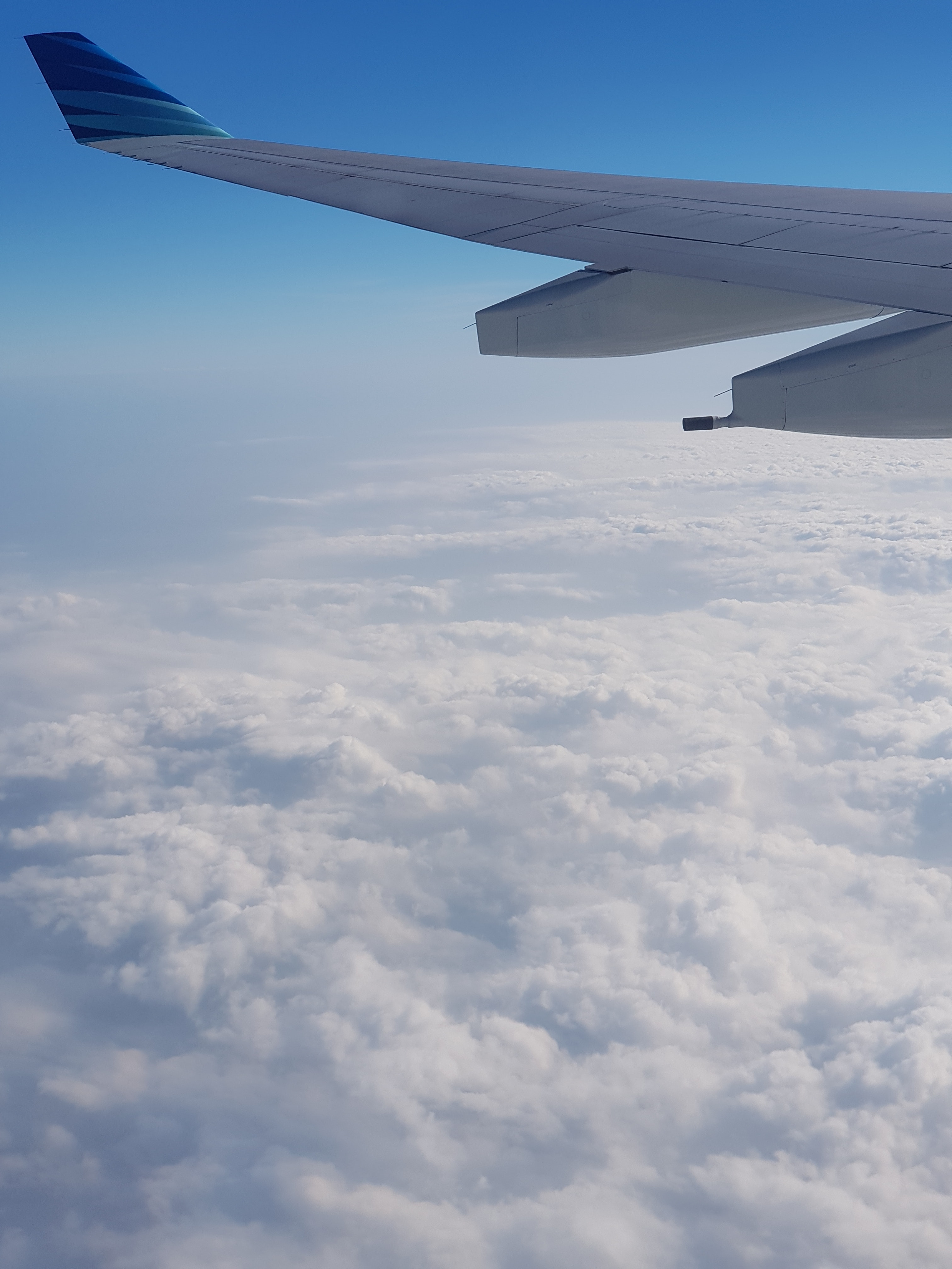 Free stock photo of aircraft wing, blue sky, cloud