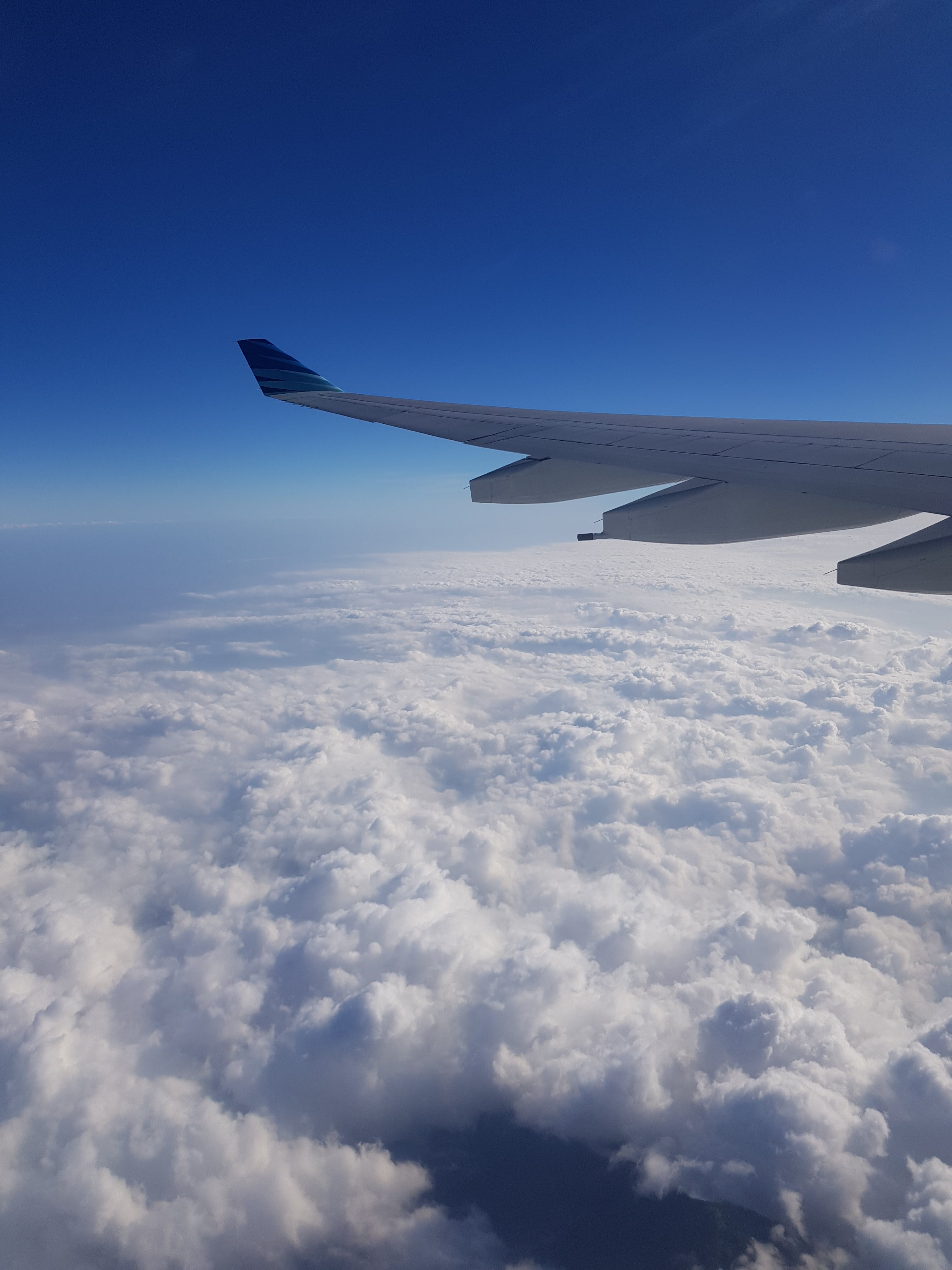 Aerial Photography of White Airplane Wing Above White Clouds