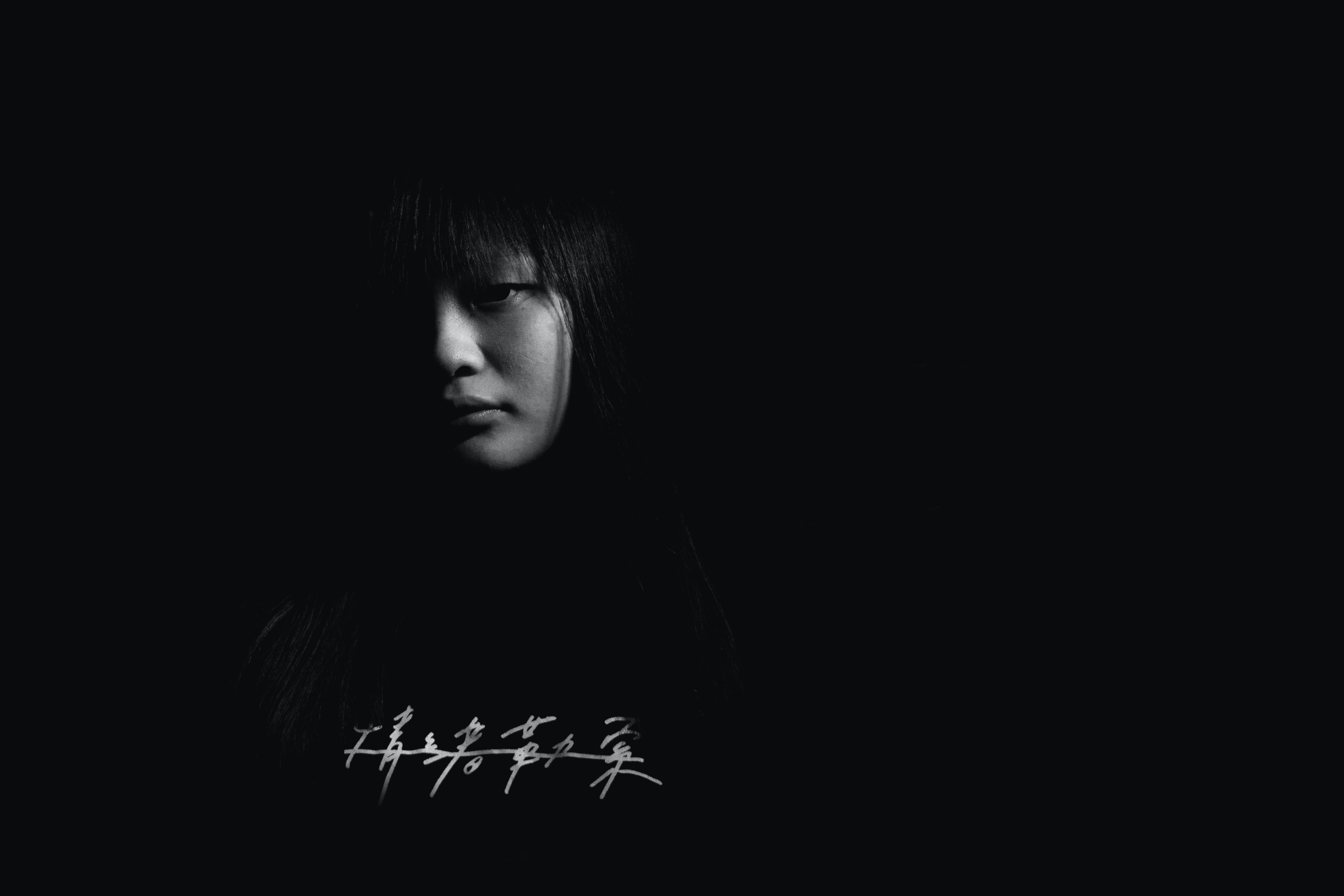 Free stock photo of asian girl, black and white, portrait