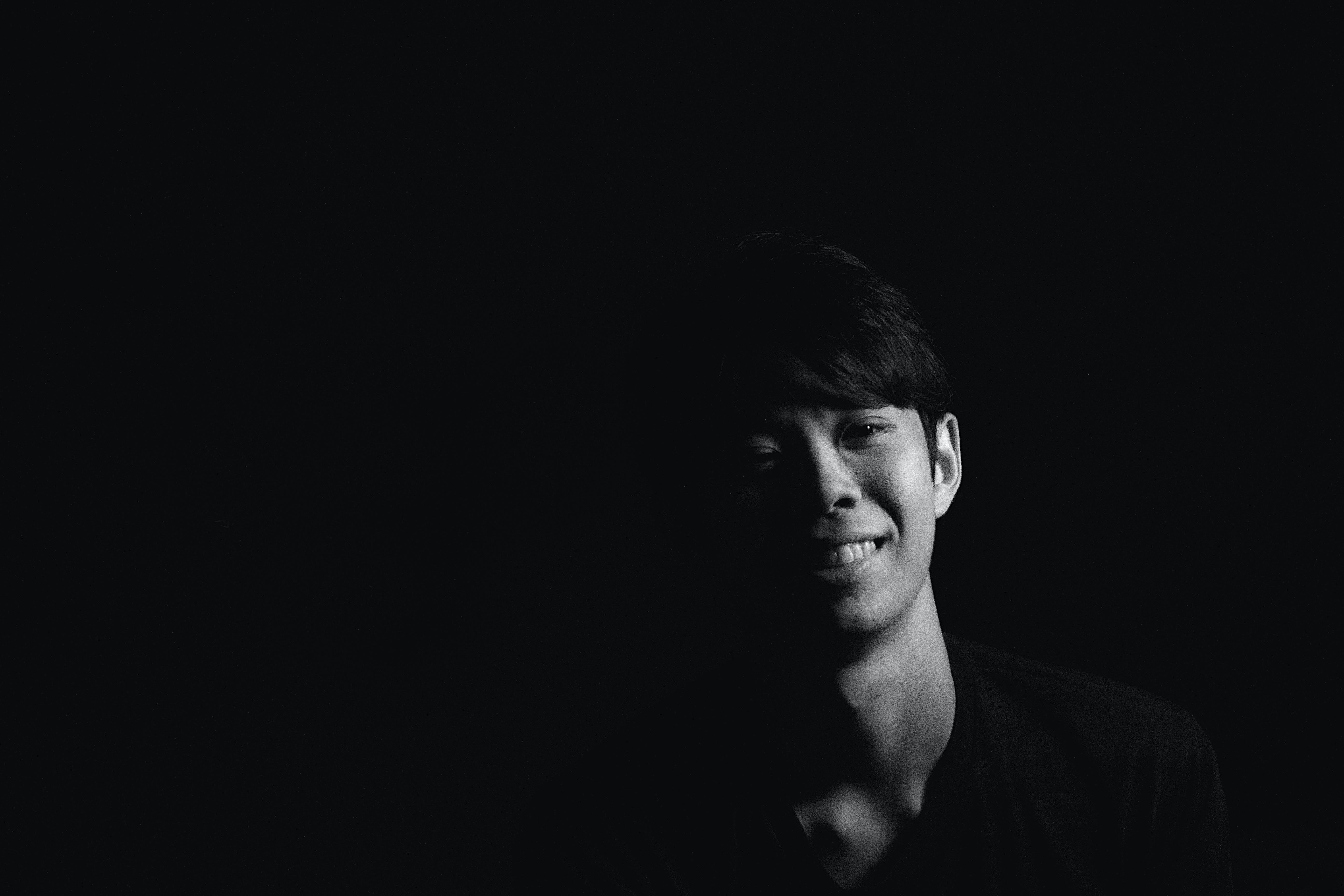 Free stock photo of asian boy, black and white, pet portrait