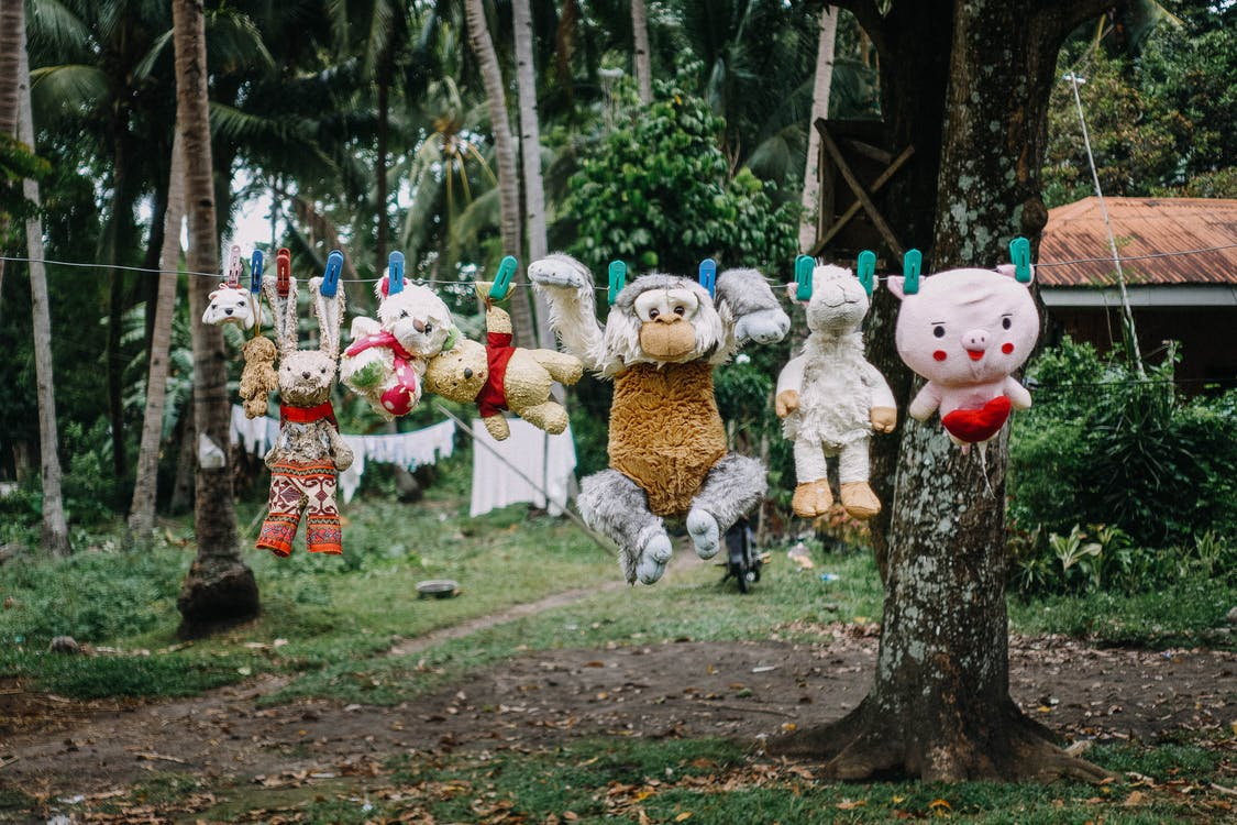 Assorted Plush Toys on Hanging String