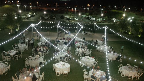 Free stock photo of bistro lights, lawn, night, outdoor