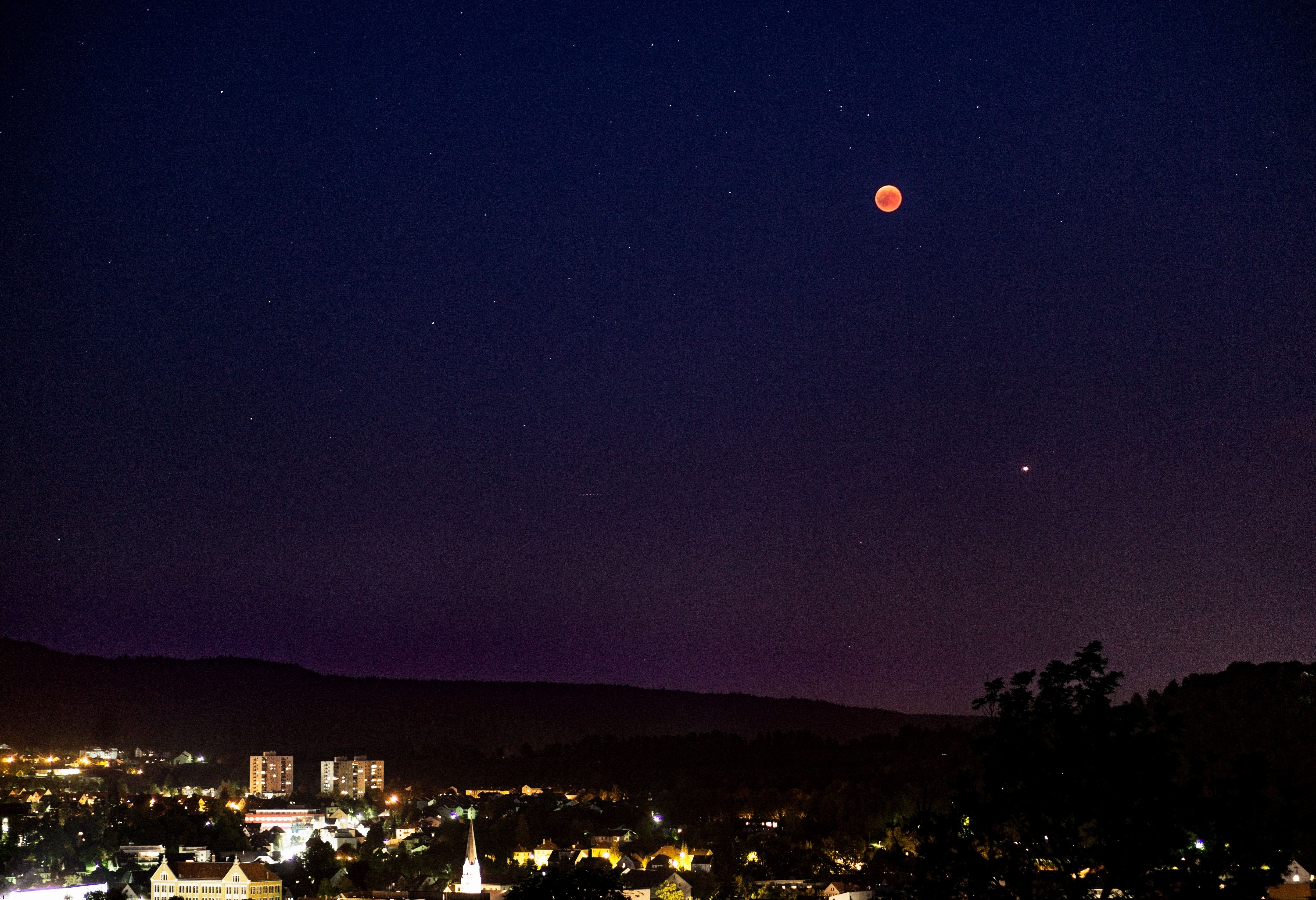 Free stock photo of blood moon, blue, city, dark