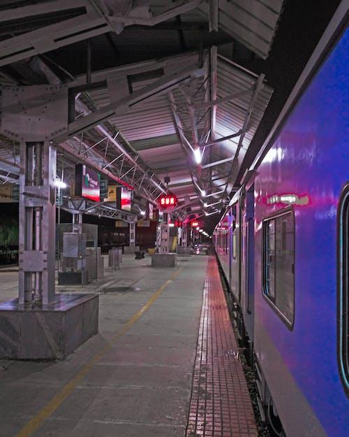 #train #station # 플랫폼 #colors #blue #stright, #윤곽의 무료 스톡 사진