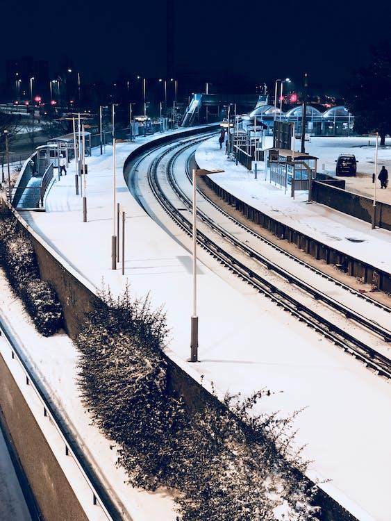 järnväg, kall, snö