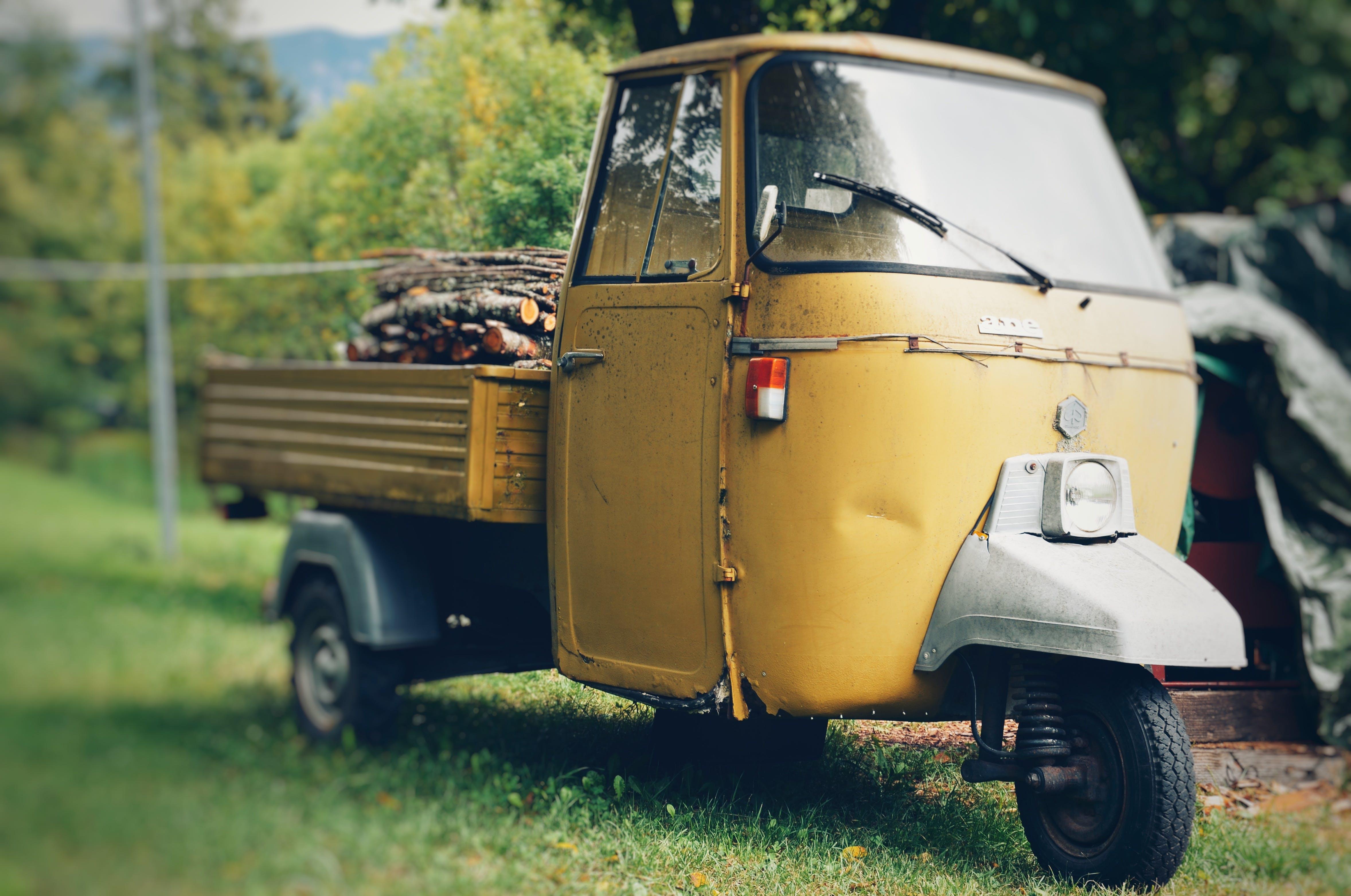 Yellow Auto Rickshaw Carrying Firewood