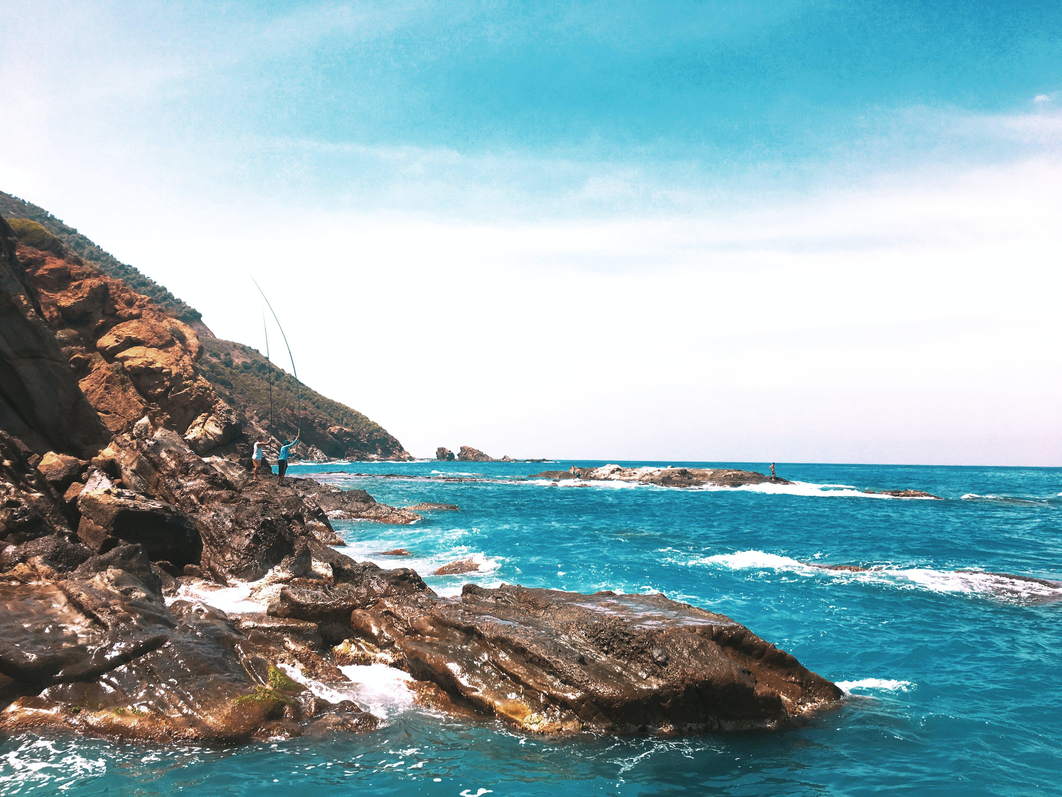 Free stock photo of beach, clear sky, fishing, fishing rod