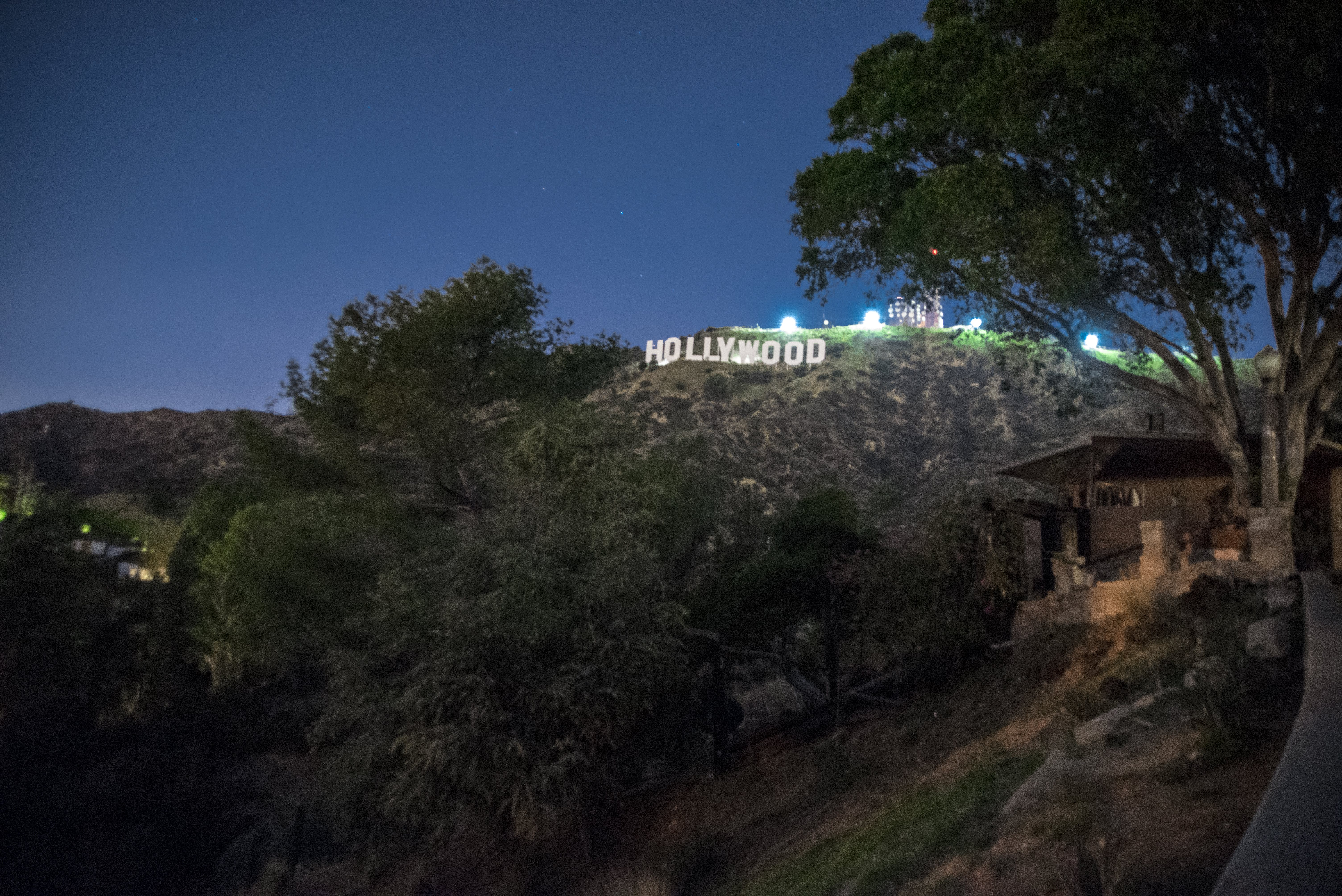 Free stock photo of Hollywood night, hollywood sign, Hollywood Sign night
