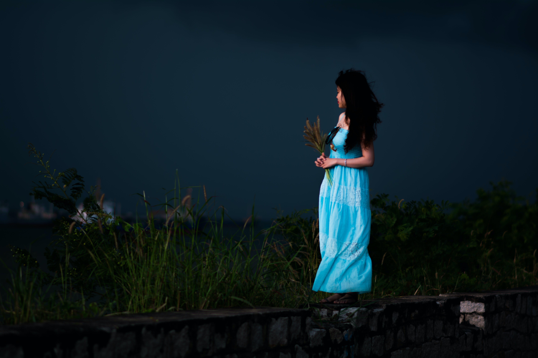 Woman Wearing Light-blue Strapless Dress